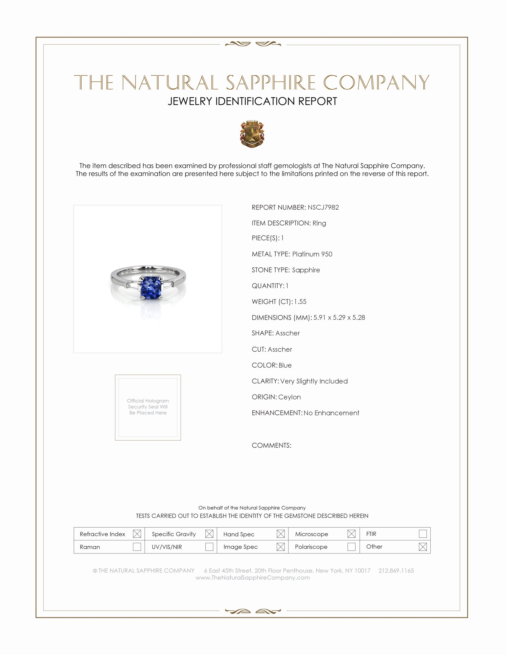 1.55ct Blue Sapphire Ring Certification