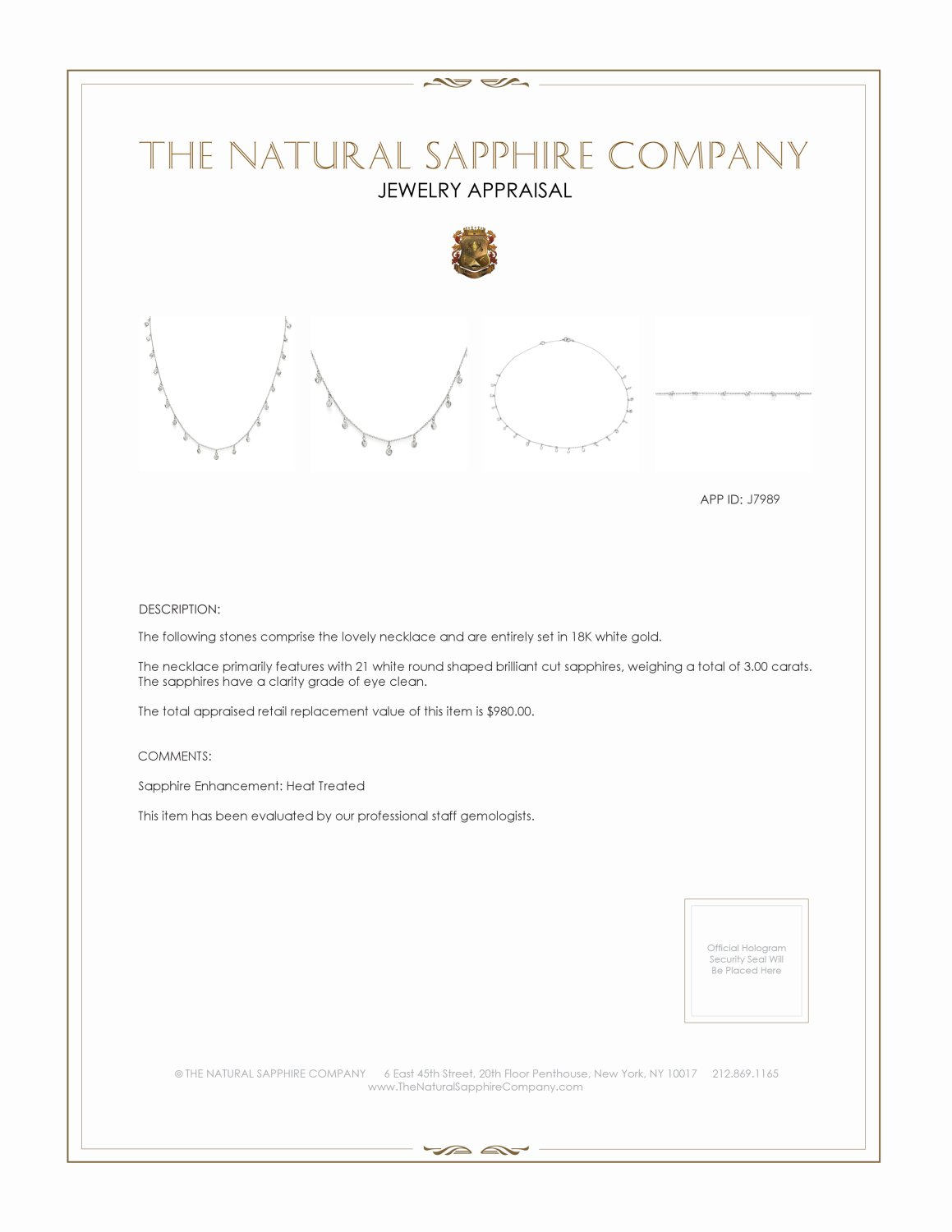 3.00ct White Sapphire Necklace Certification 2