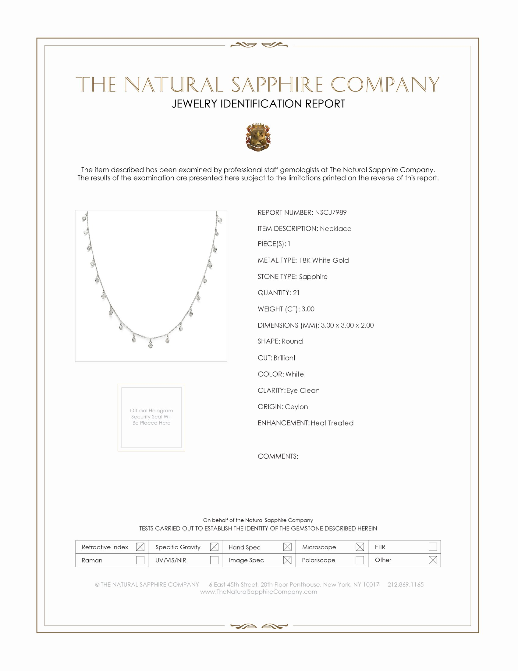 3.00ct White Sapphire Necklace Certification