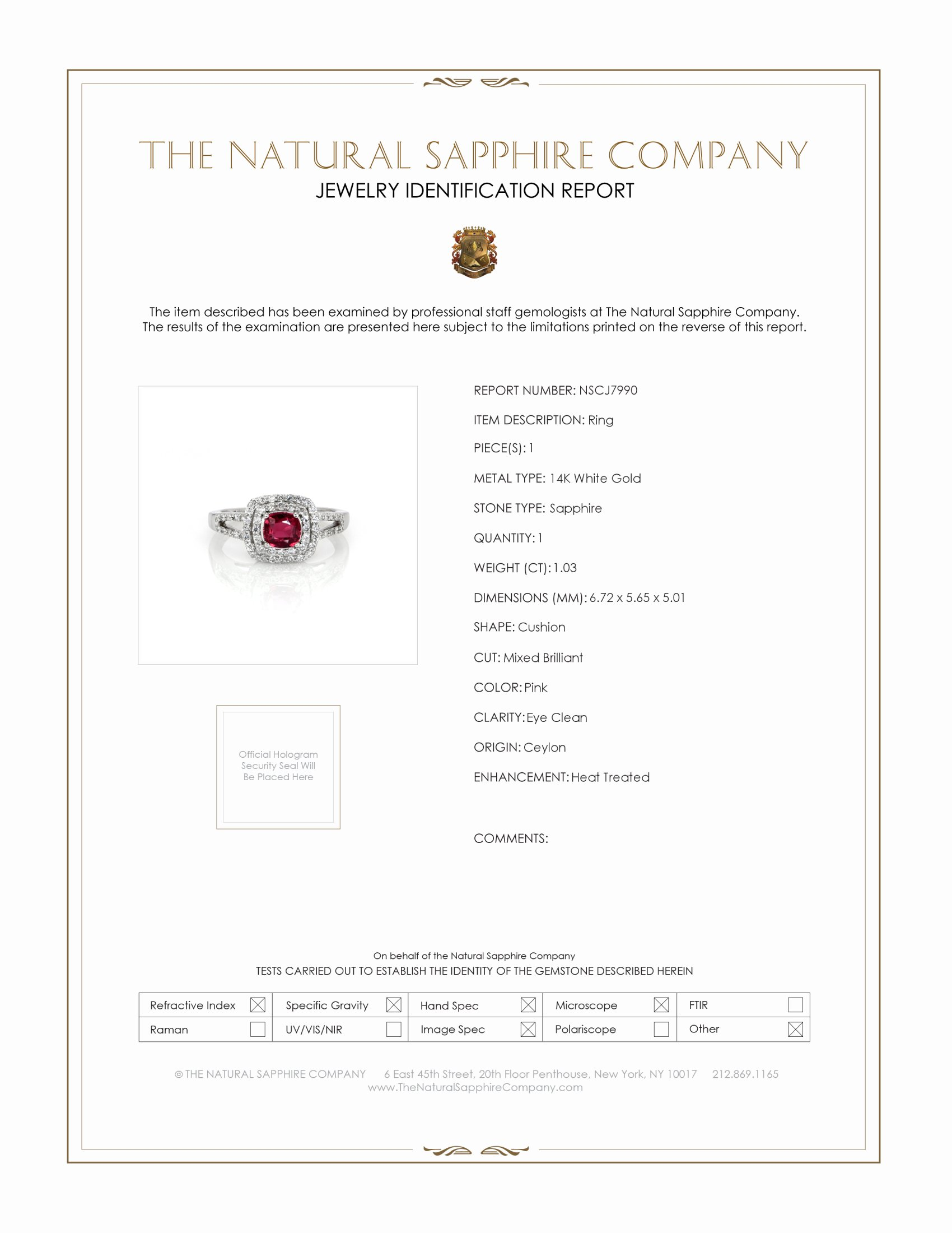 1.03ct Pink Sapphire Ring Certification
