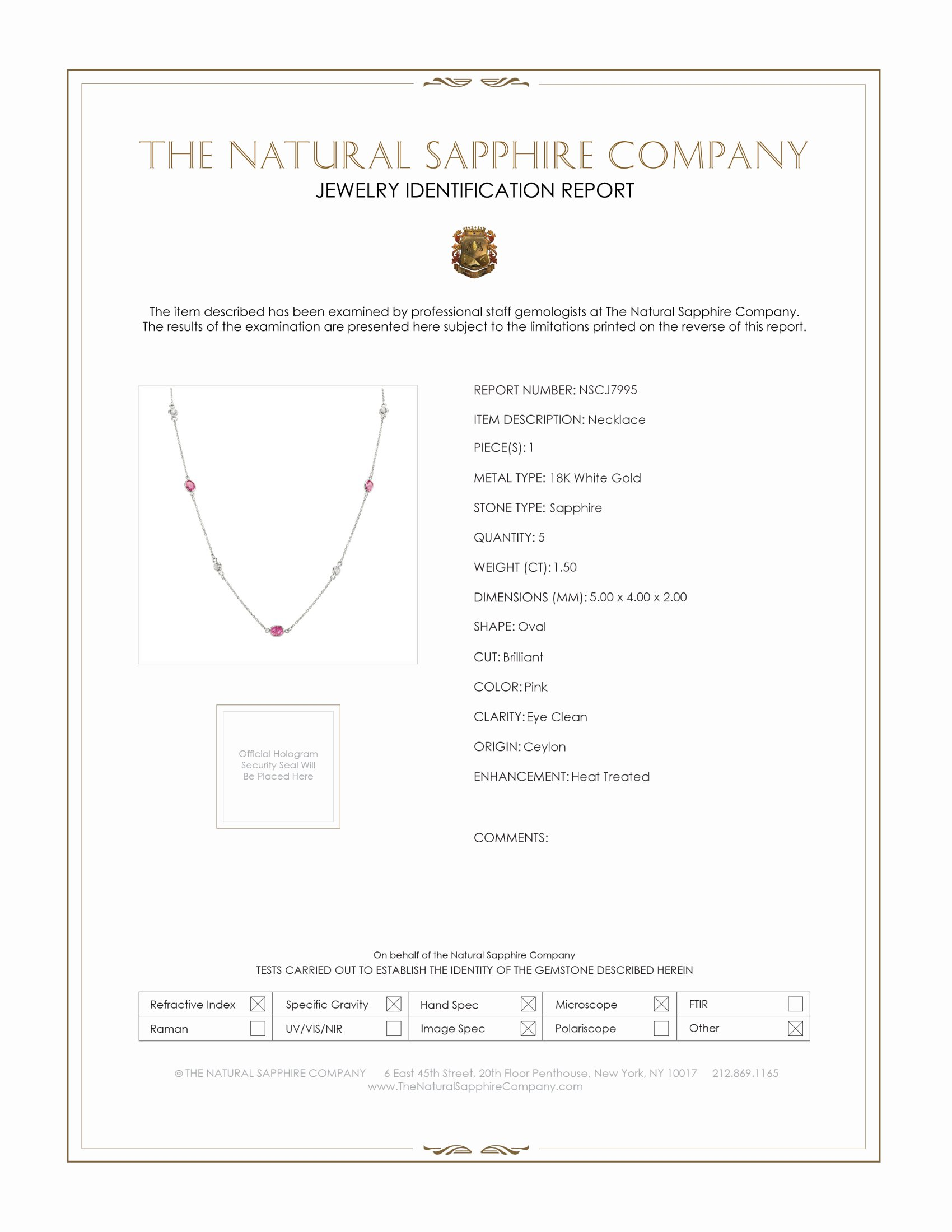 1.50ct Pink Sapphire Necklace Certification