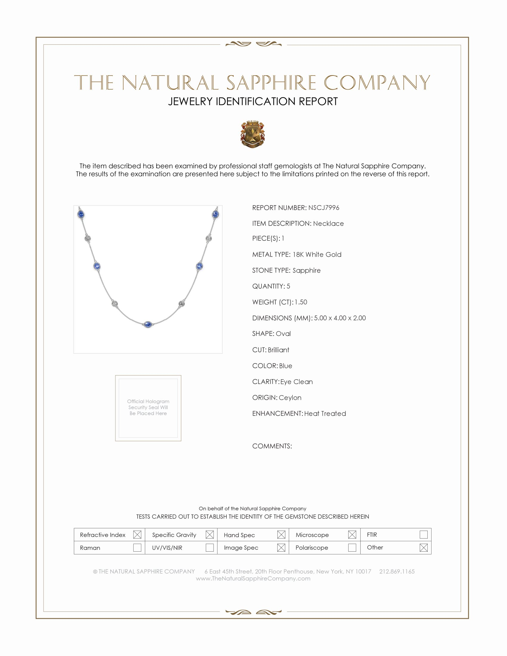 1.50ct Blue Sapphire Necklace Certification
