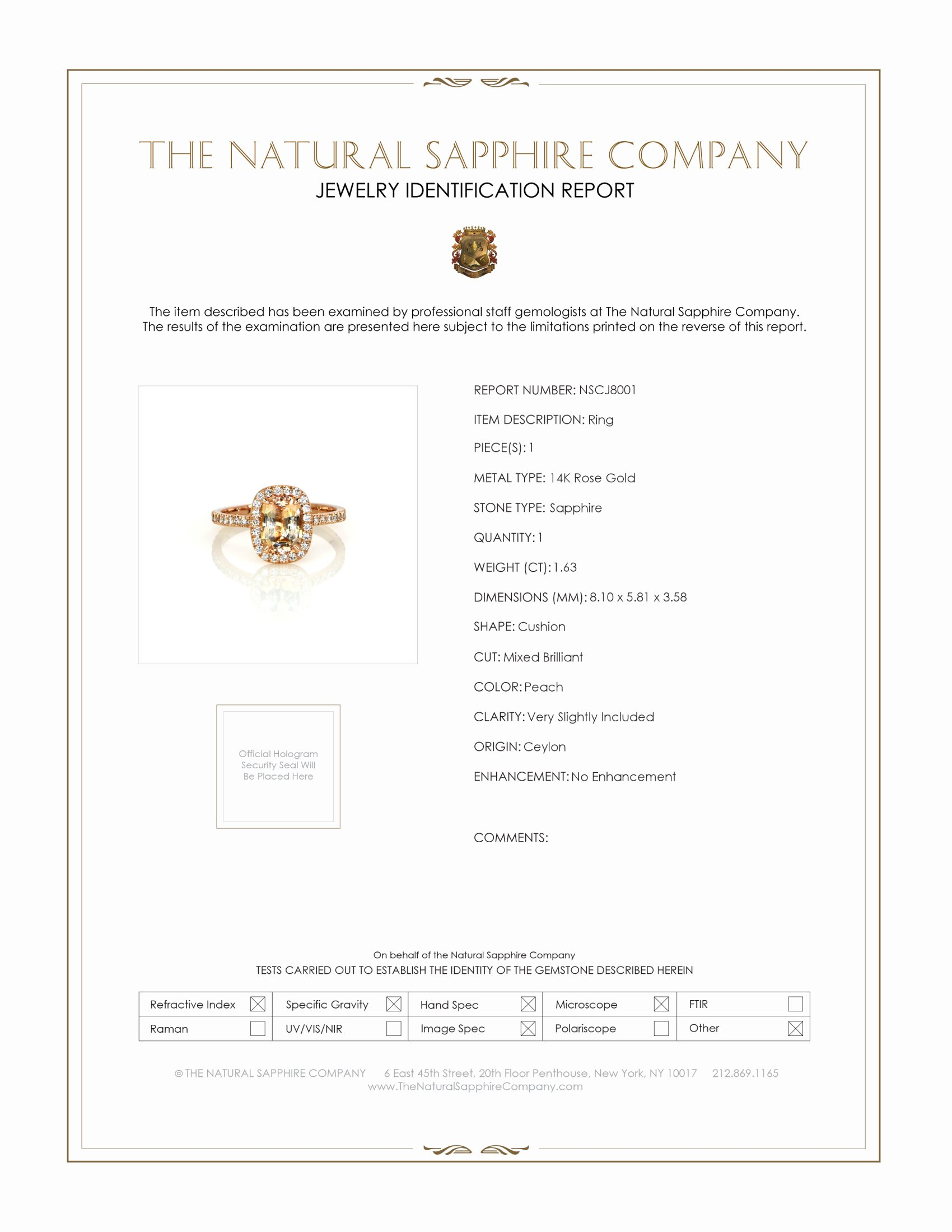 1.63ct Peach Sapphire Ring Certification