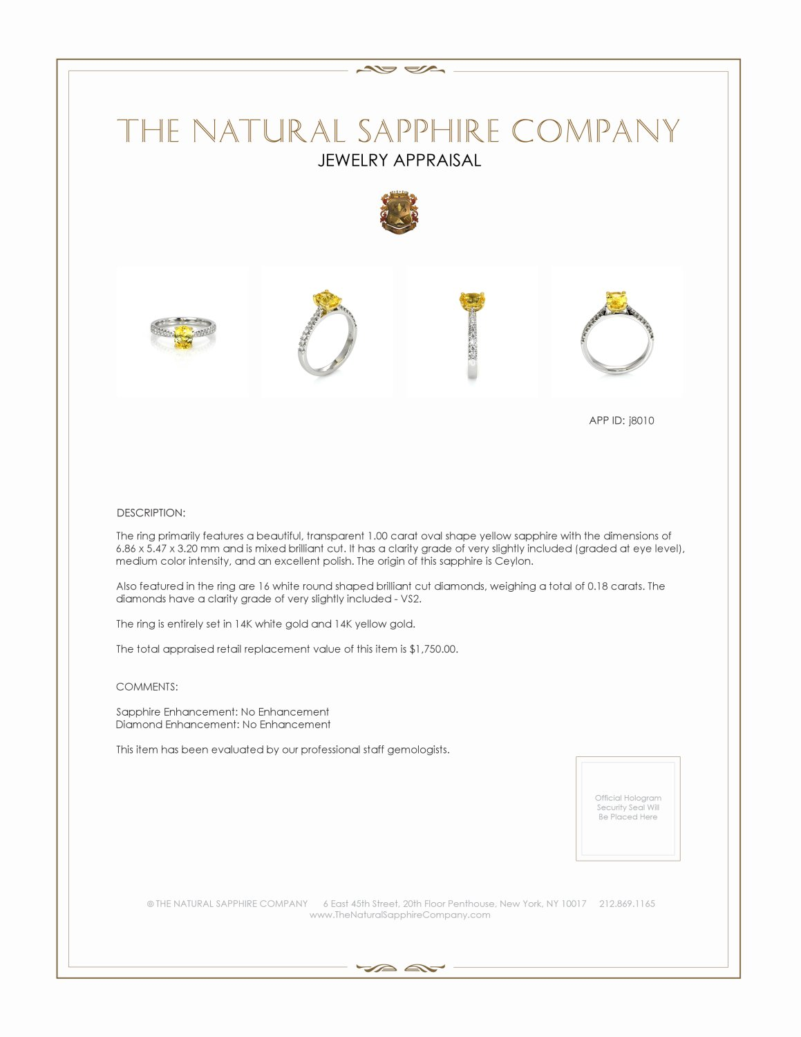 1.00ct Yellow Sapphire Ring Certification 2