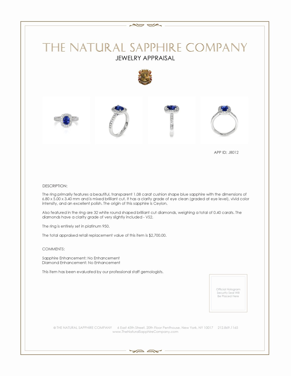 1.08ct Blue Sapphire Ring Certification 2