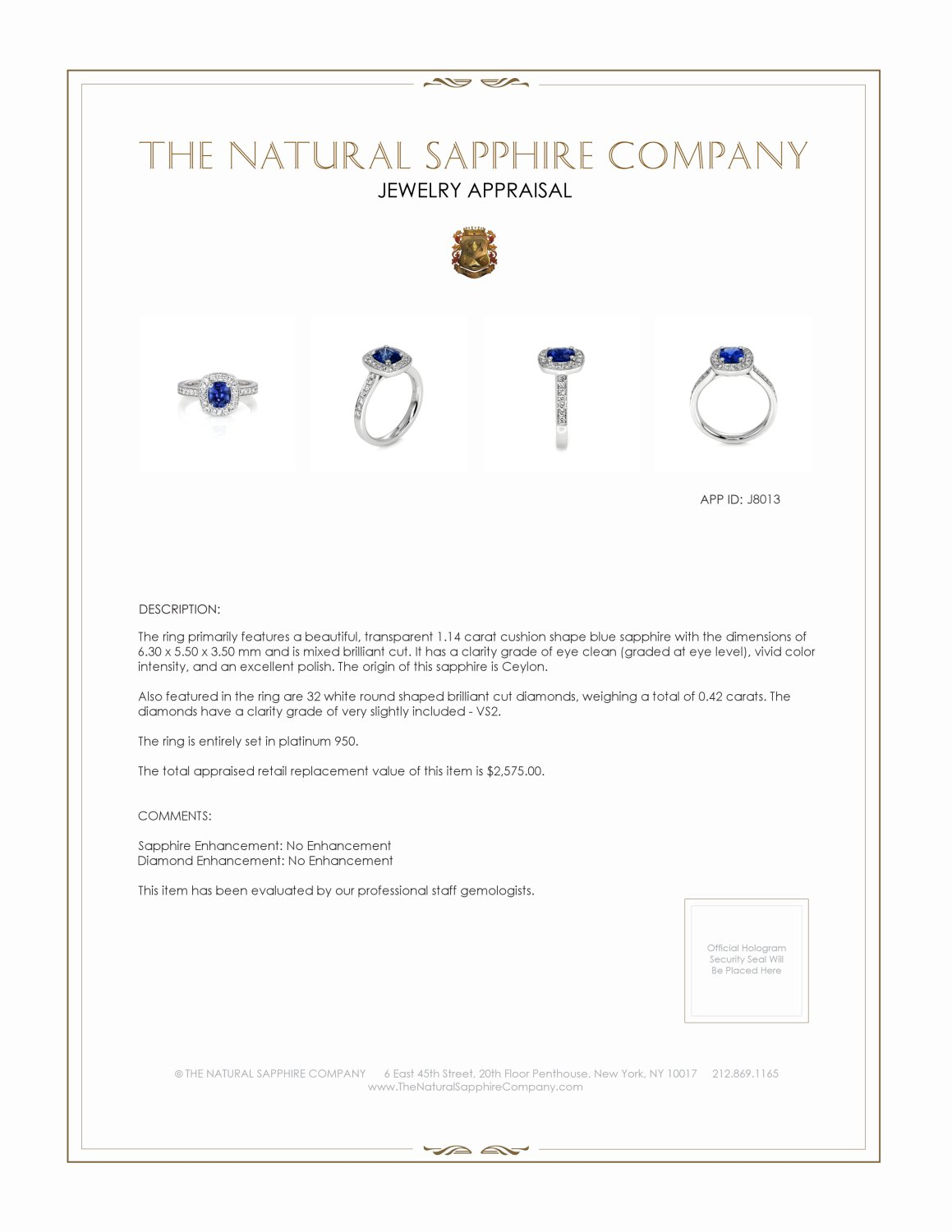 1.14ct Blue Sapphire Ring Certification 2