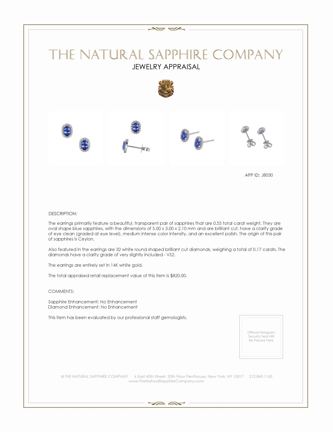 0.55ct Blue Sapphire Earring Certification 2