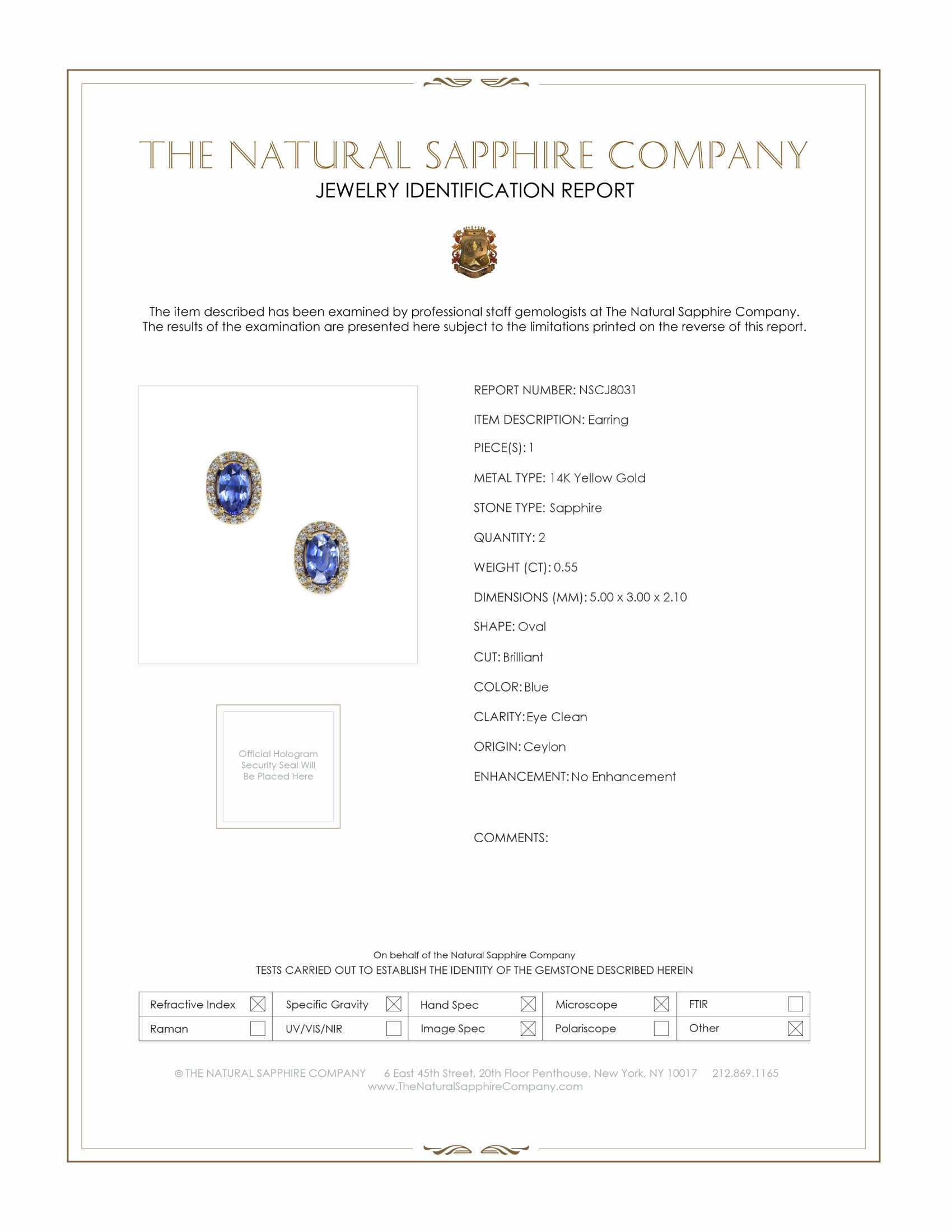 0.55ct Blue Sapphire Earring Certification