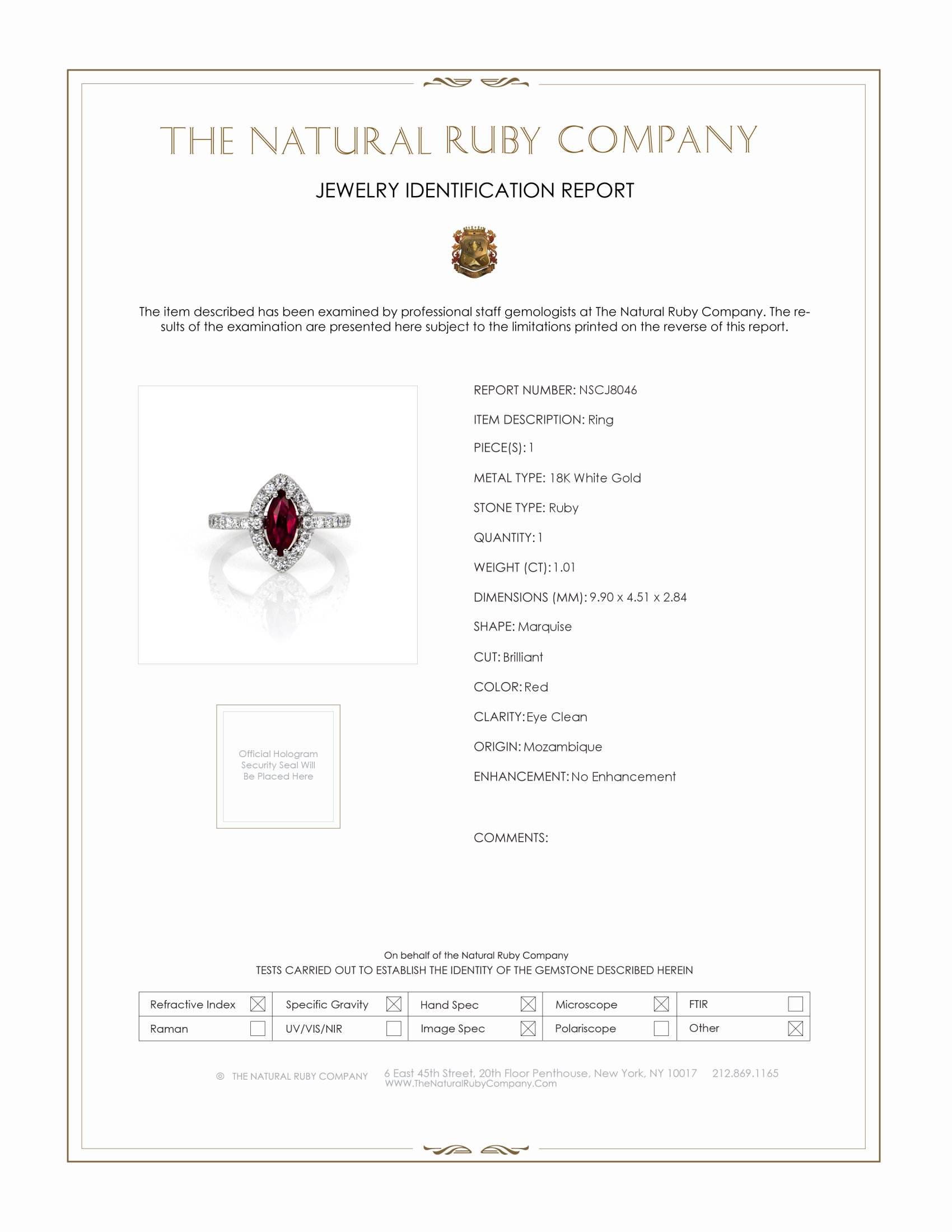 1.01ct Ruby Ring Certification