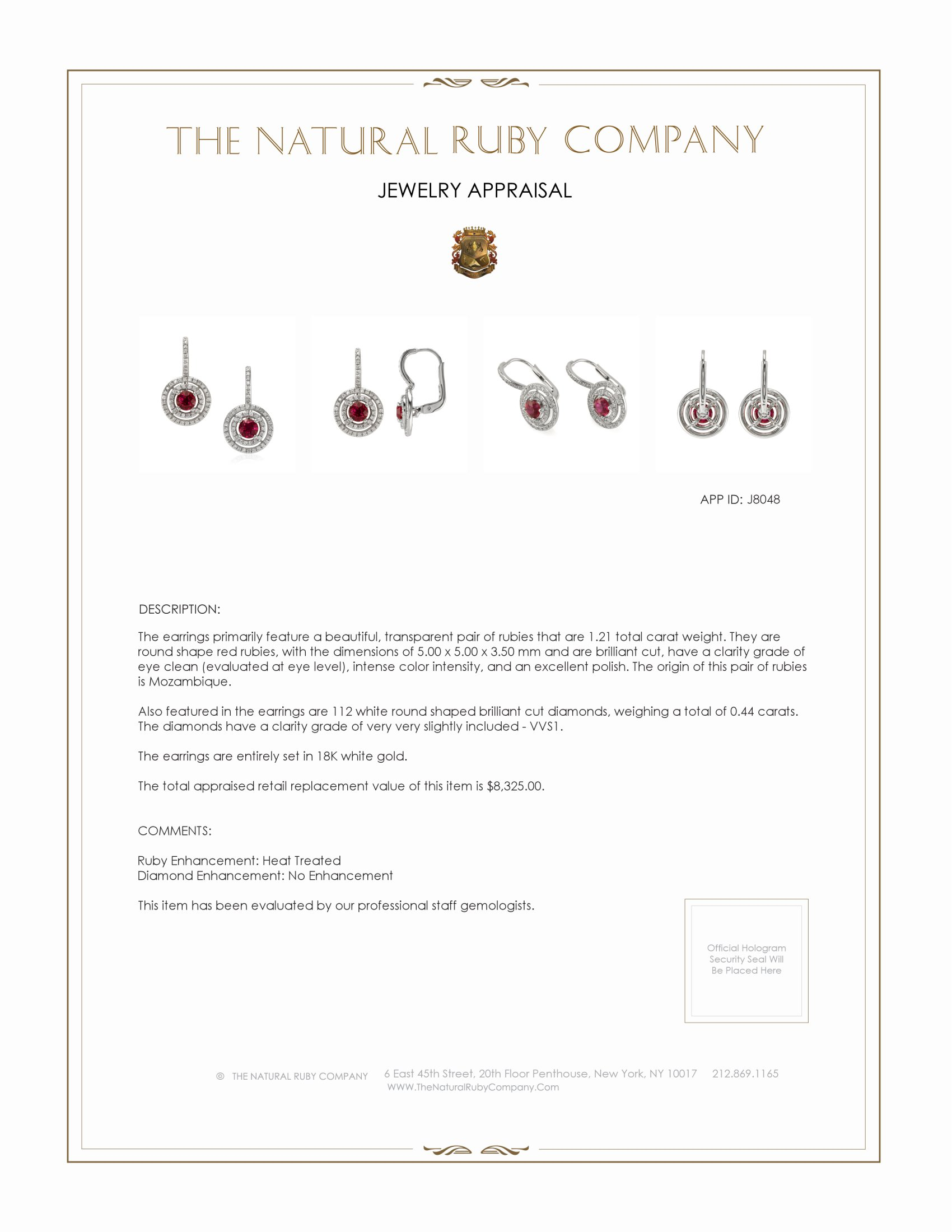 1.21ct Ruby Earring Certification