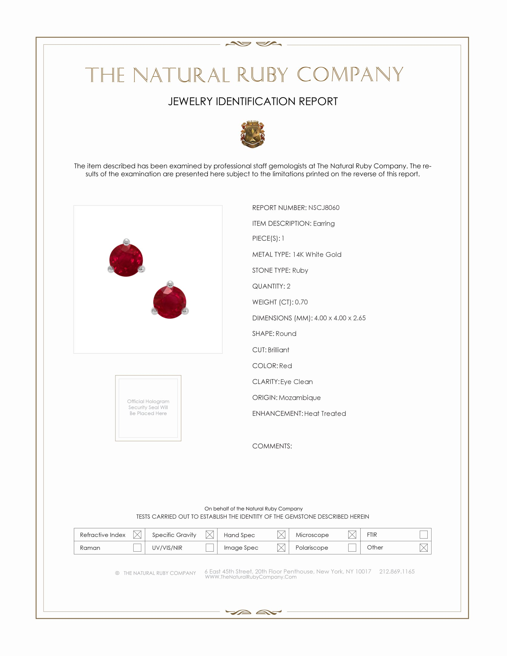 0.70ct Ruby Earring Certification