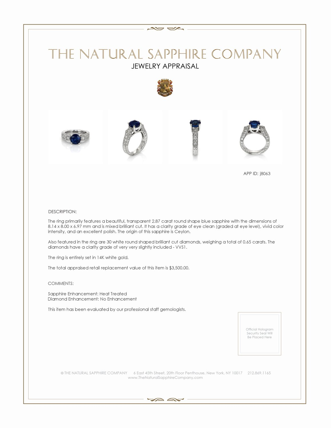 2.87ct Blue Sapphire Ring Certification 2