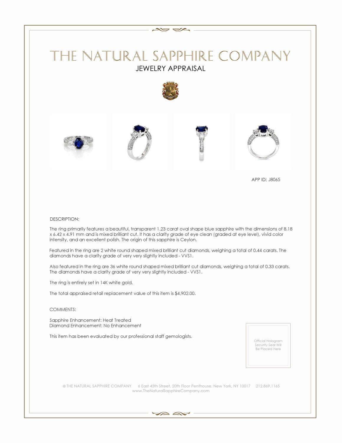 1.23ct Blue Sapphire Ring Certification 2