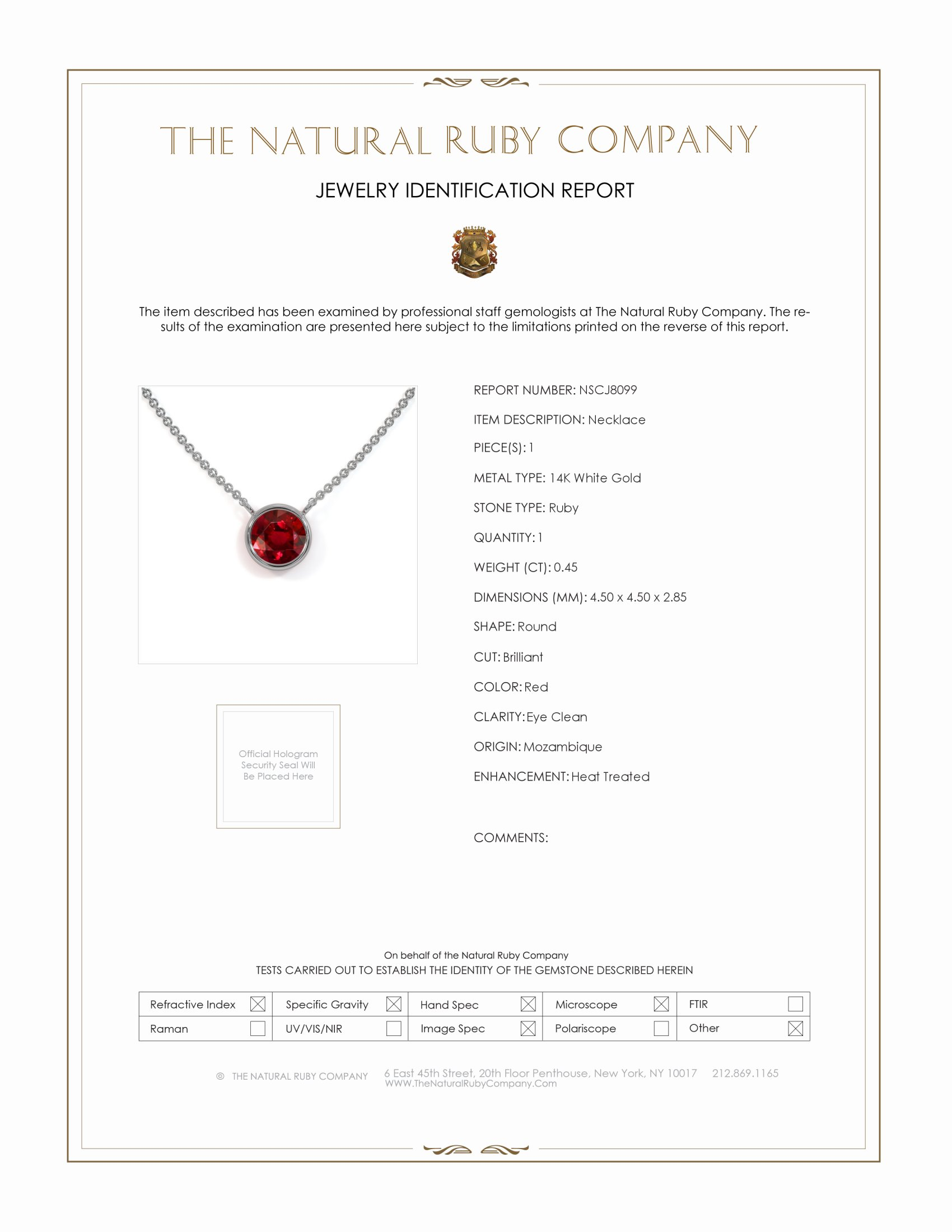 0.45ct Ruby Necklace Certification