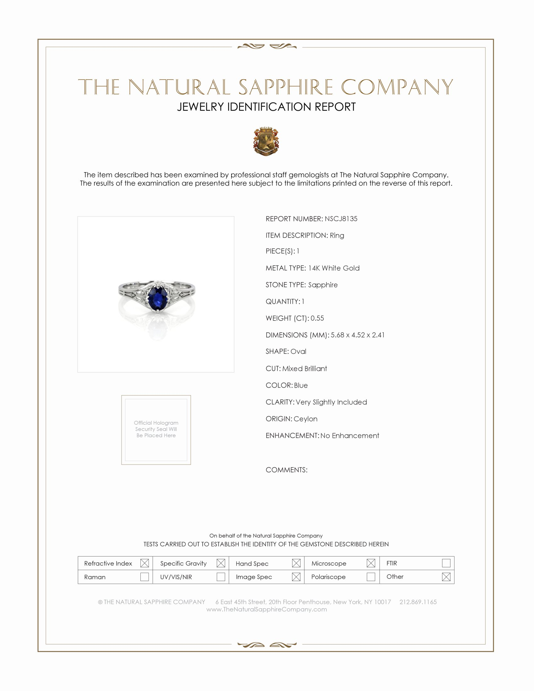 0.55ct Blue Sapphire Ring Certification