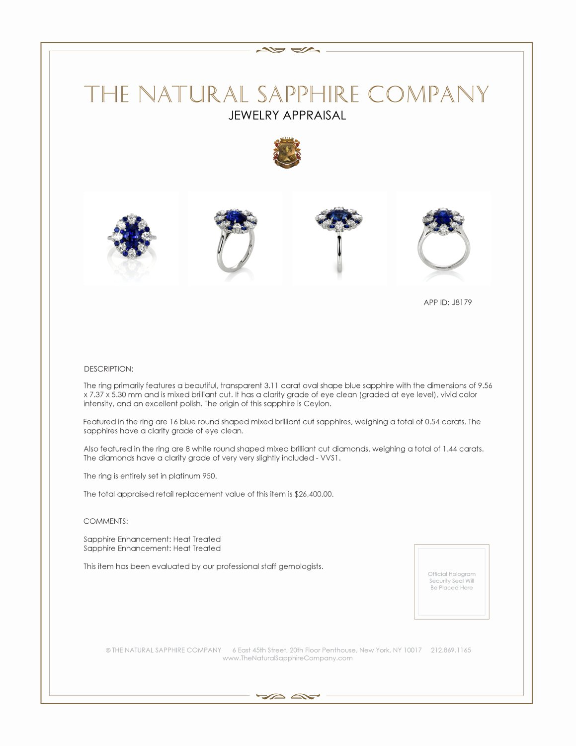 3.11ct Blue Sapphire Ring Certification