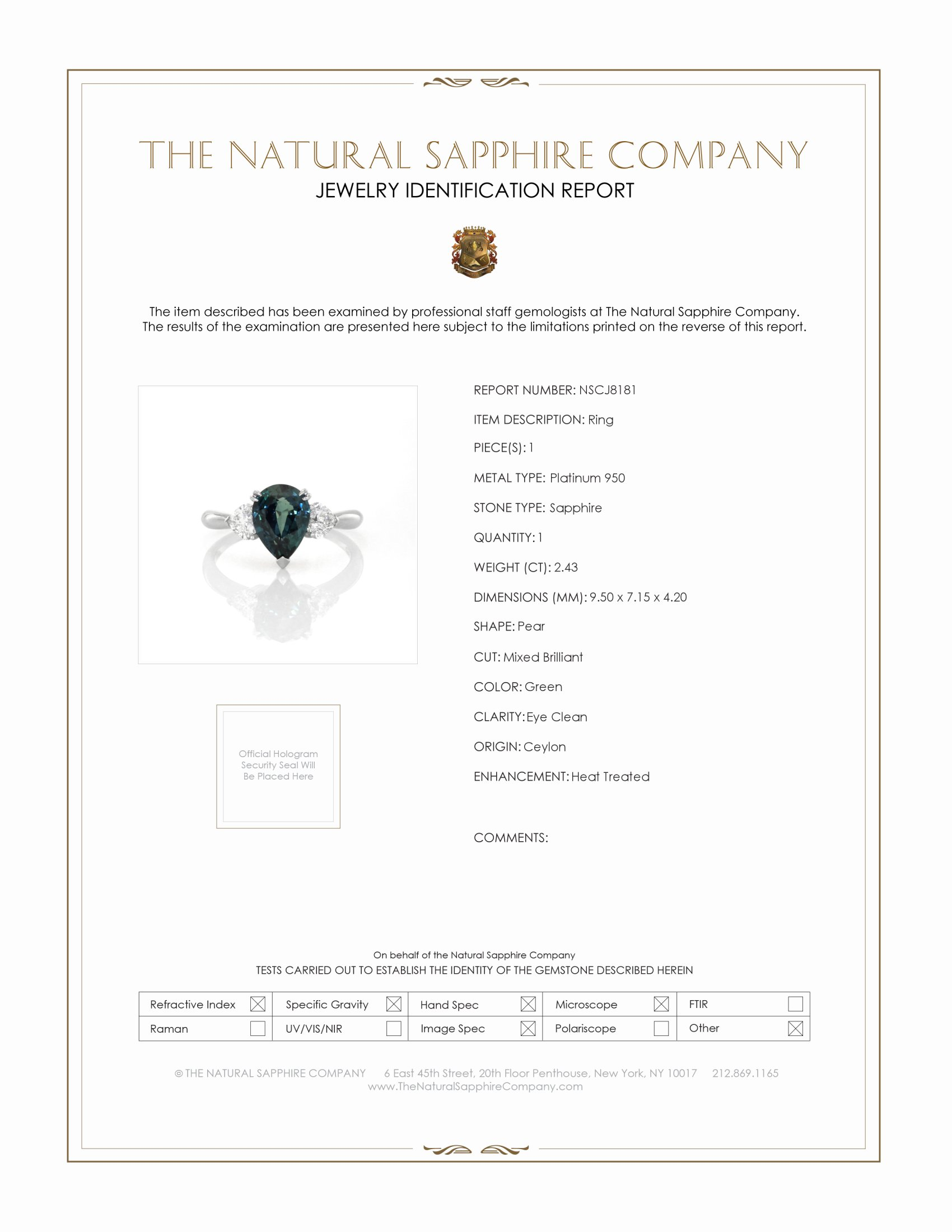 2.43ct Green Sapphire Ring Certification