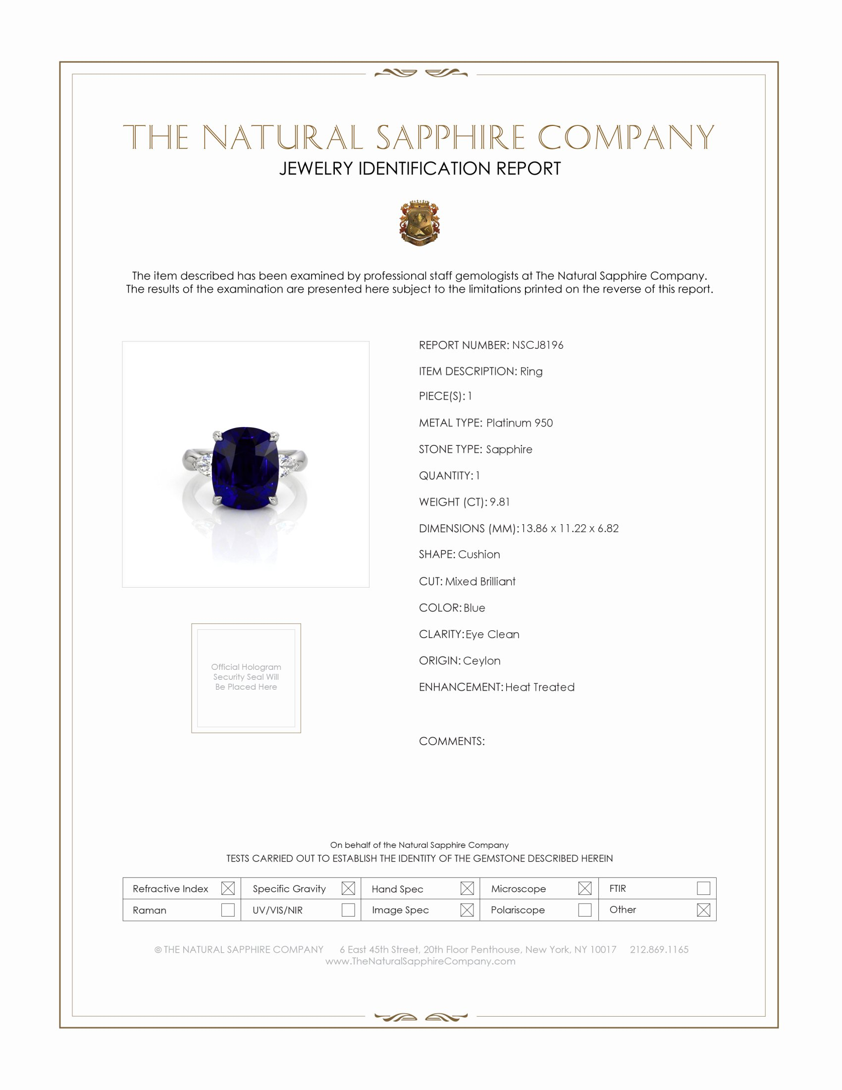 9.81ct Blue Sapphire Ring Certification