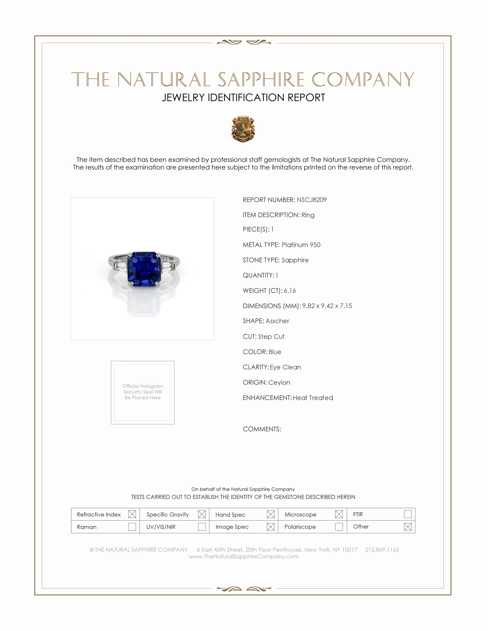 6.16ct Blue Sapphire Ring Certification