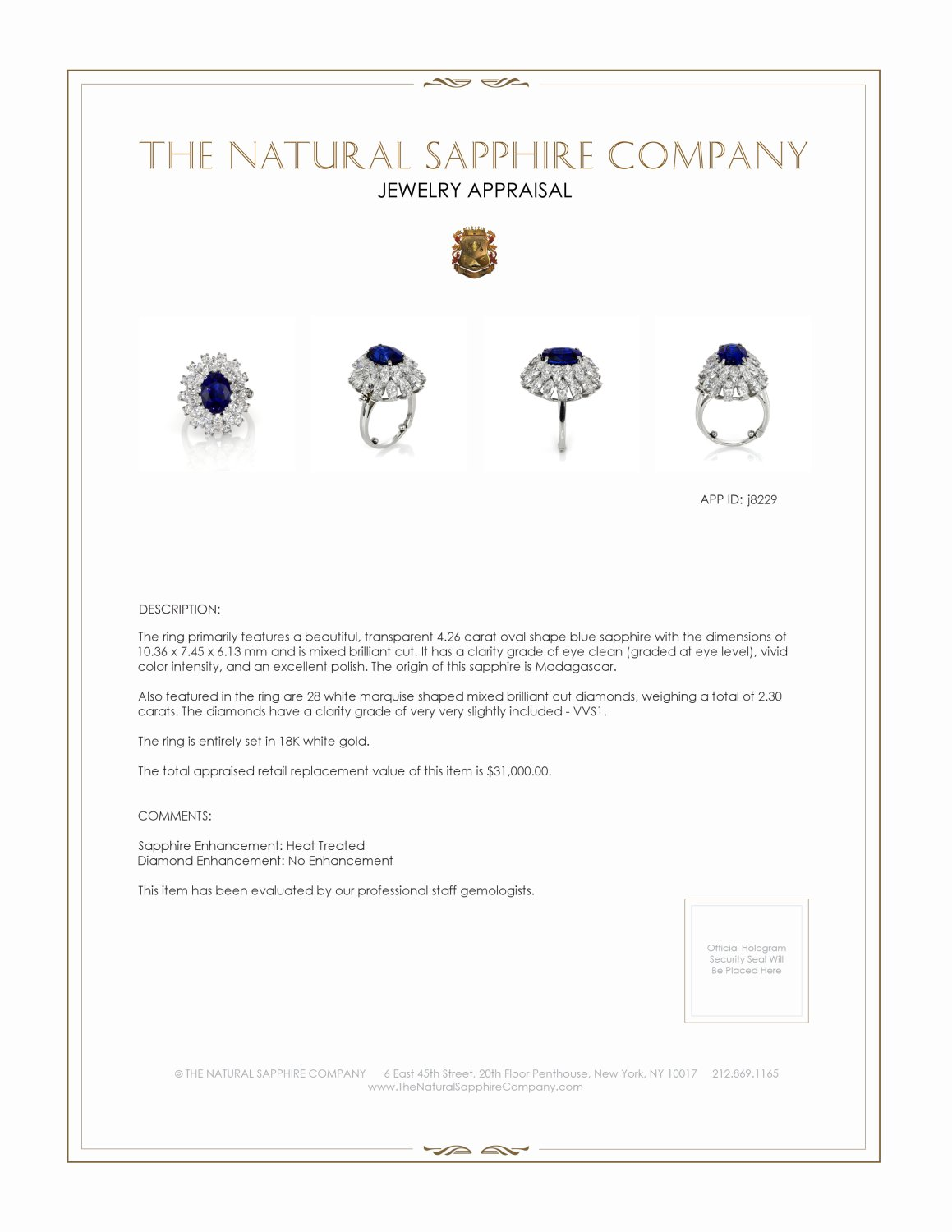 4.26ct Blue Sapphire Ring Certification