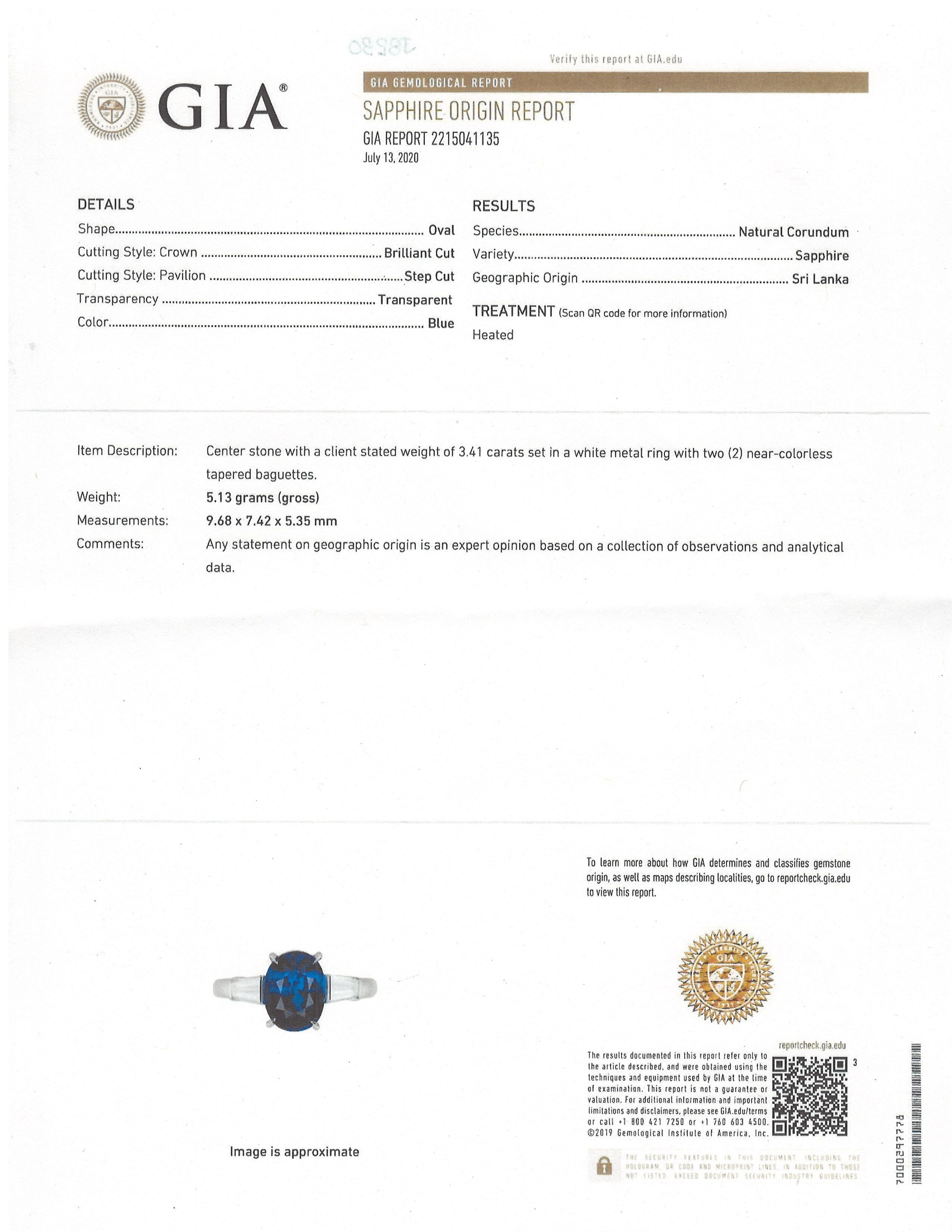3.41ct Blue Sapphire Ring Certification 2