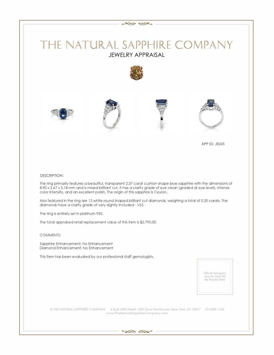 2.37ct Blue Sapphire Ring Certification