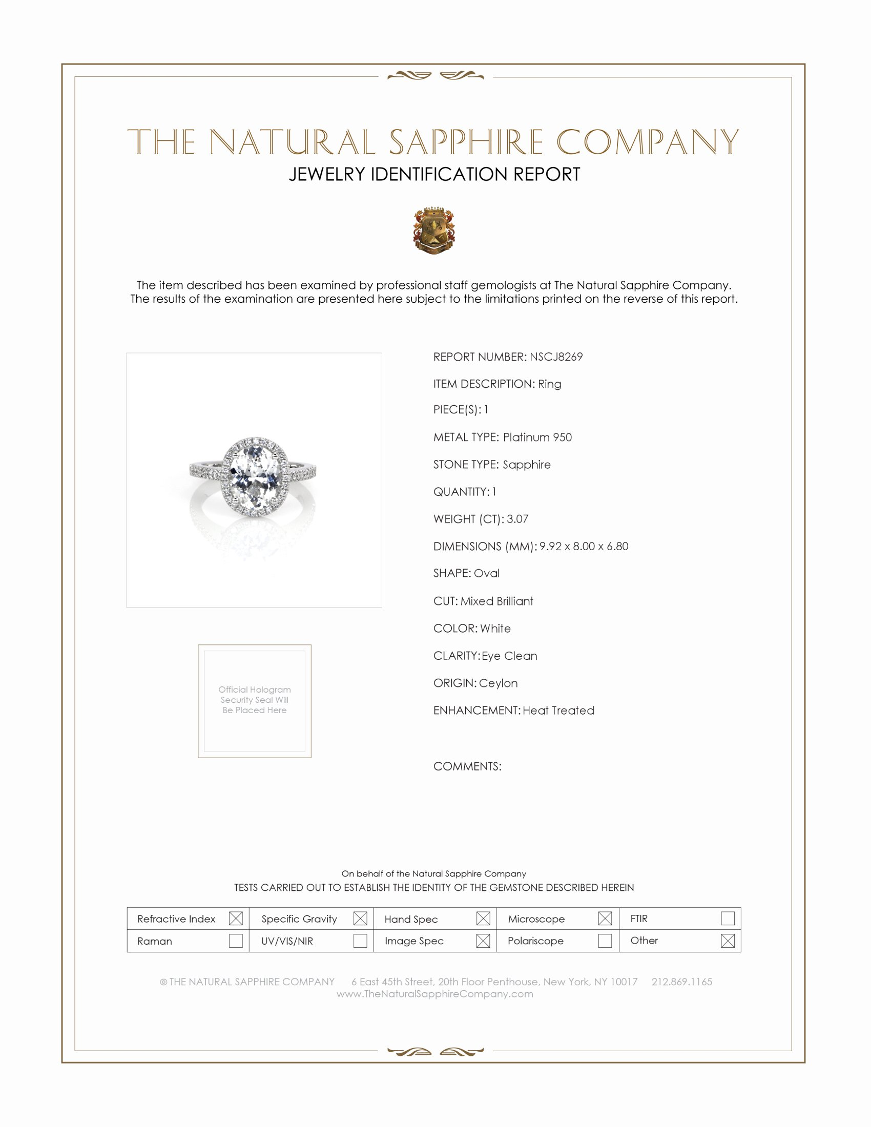 3.07ct White Sapphire Ring Certification