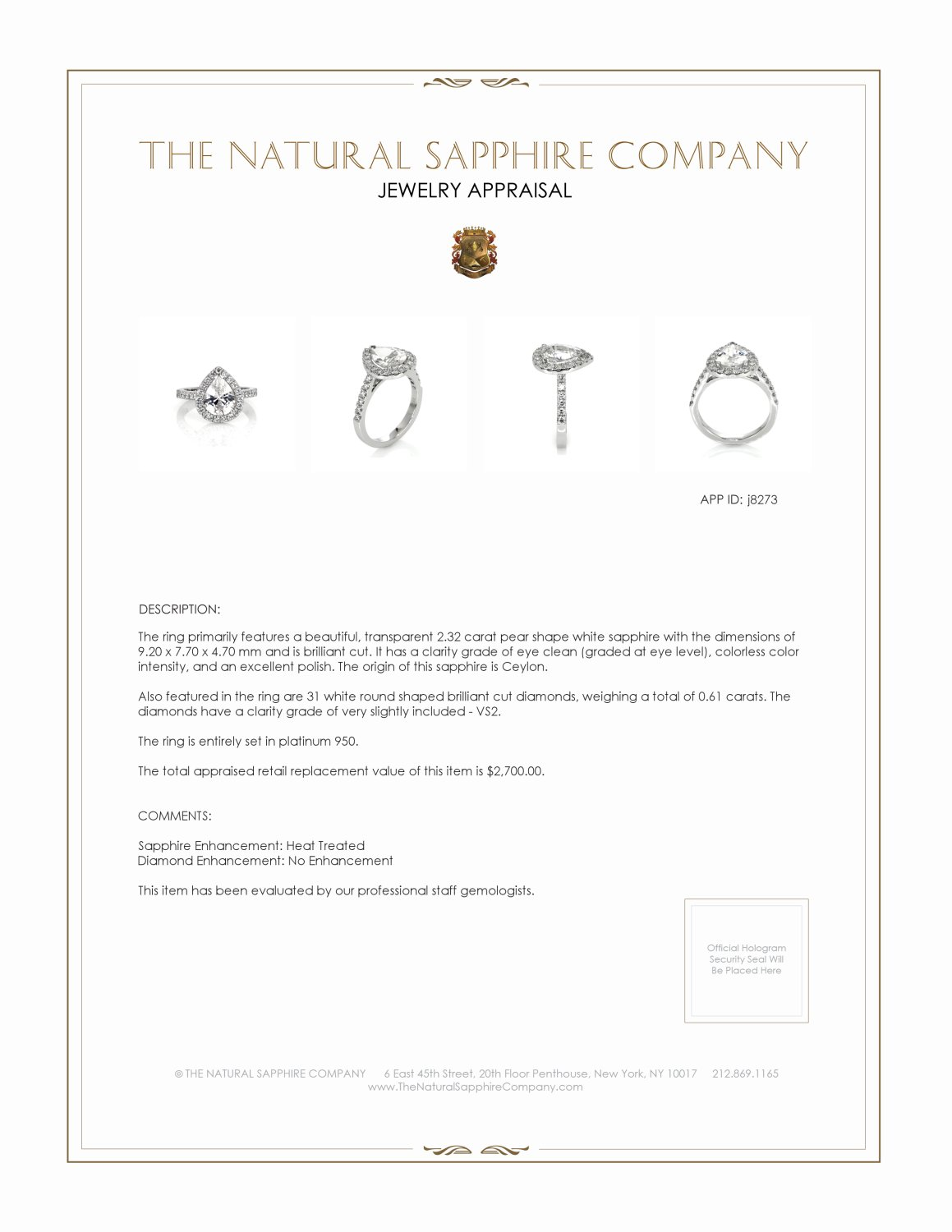 2.32ct White Sapphire Ring Certification