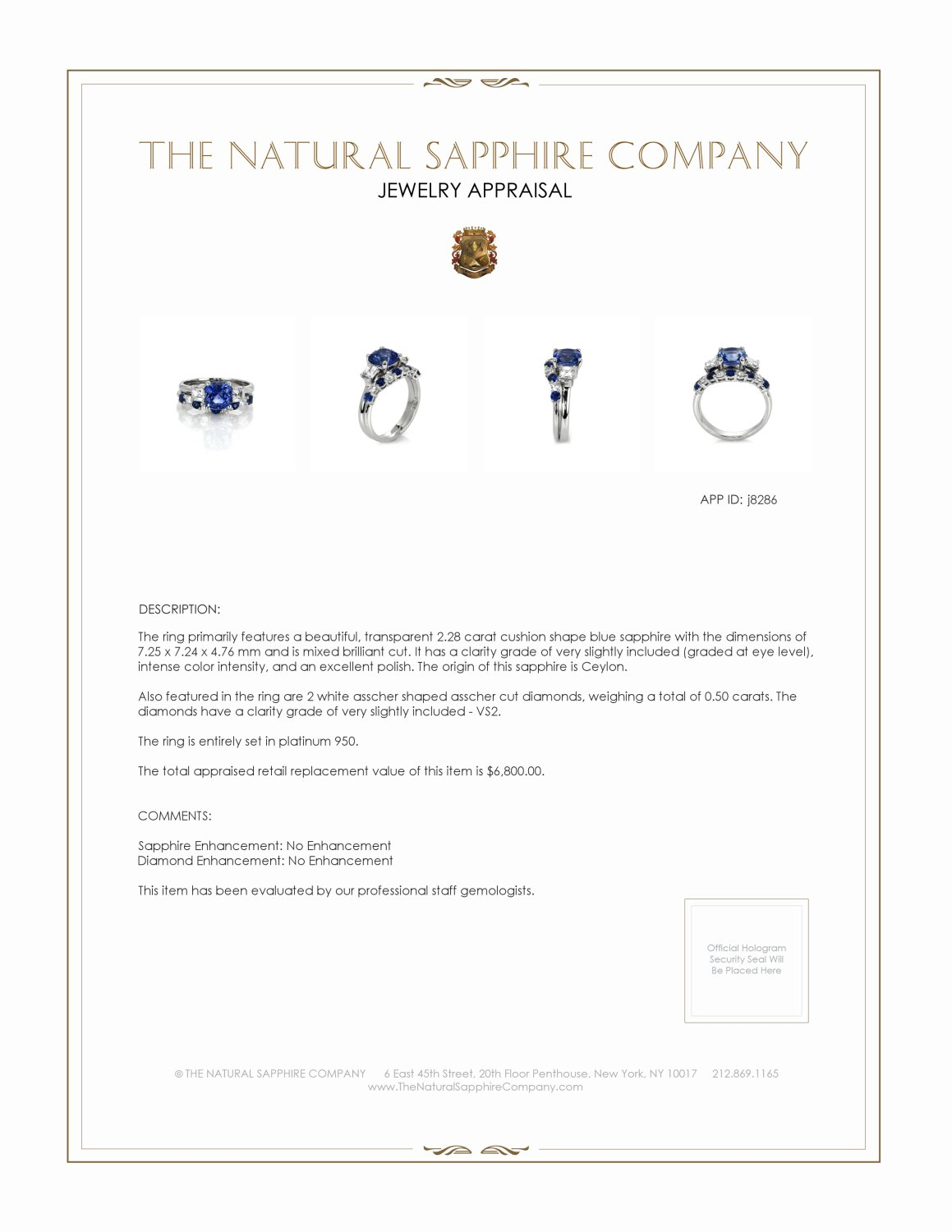 2.28ct Blue Sapphire Ring Certification