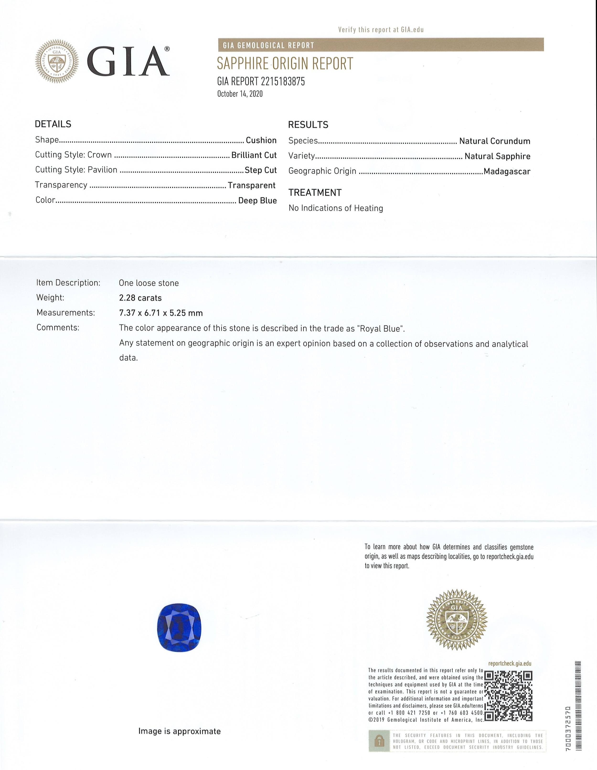 2.28ct Blue Sapphire Ring Certification 2