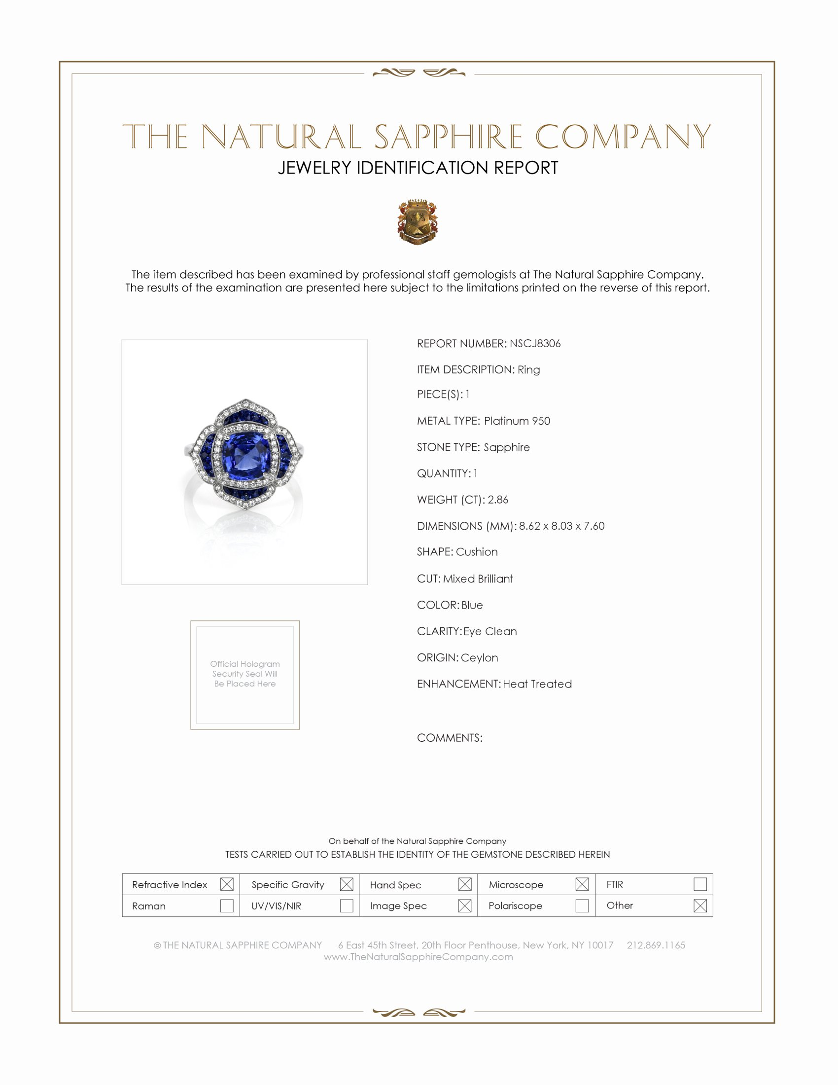 2.86ct Blue Sapphire Ring Certification
