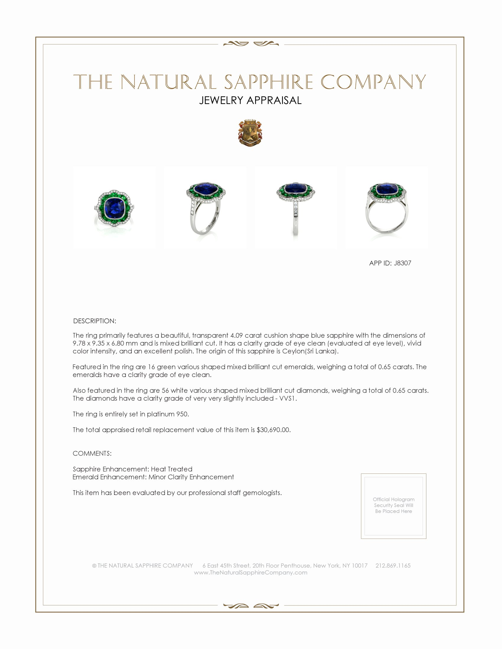 4.09ct Blue Sapphire Ring Certification