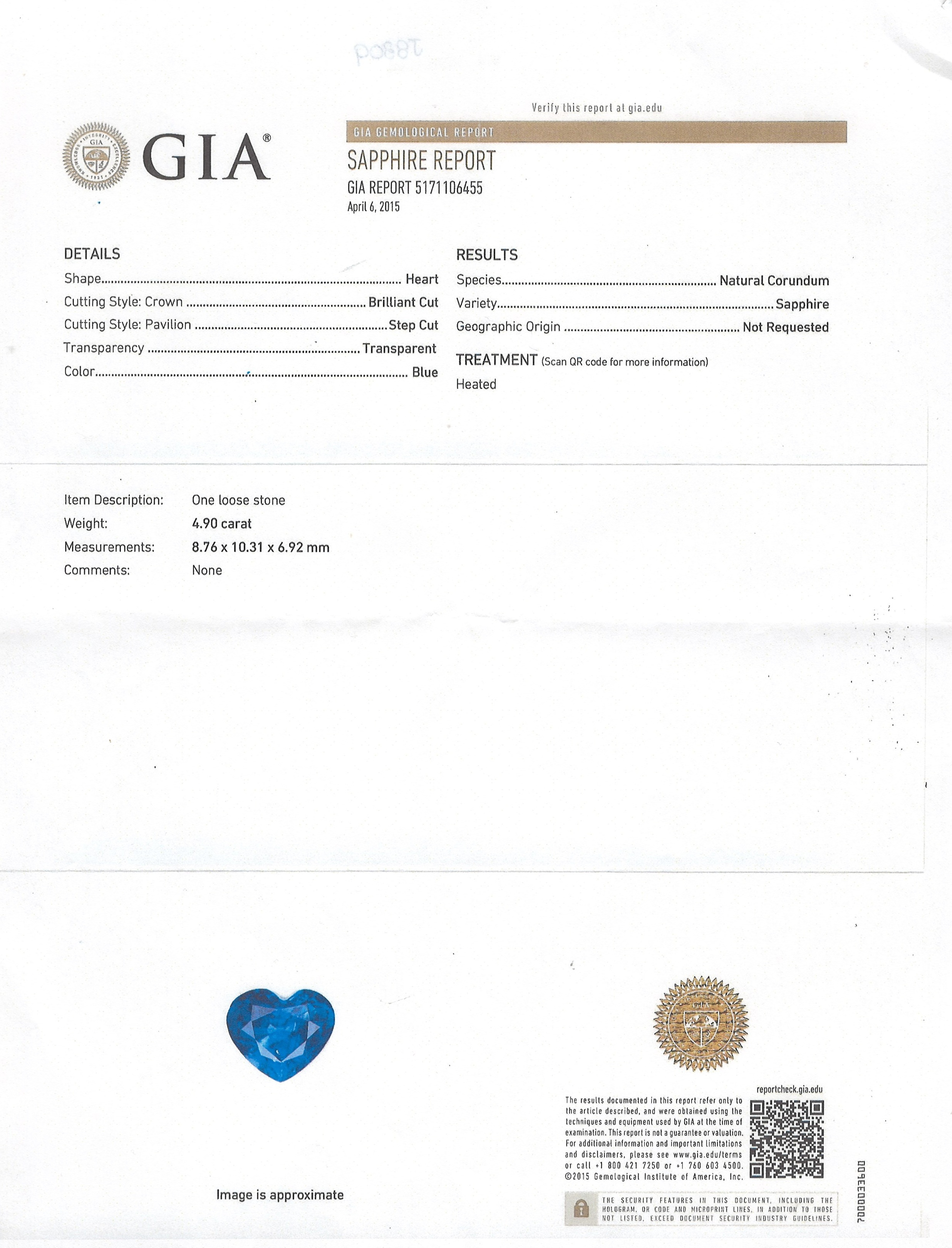 4.90ct Blue Sapphire Ring Certification 2