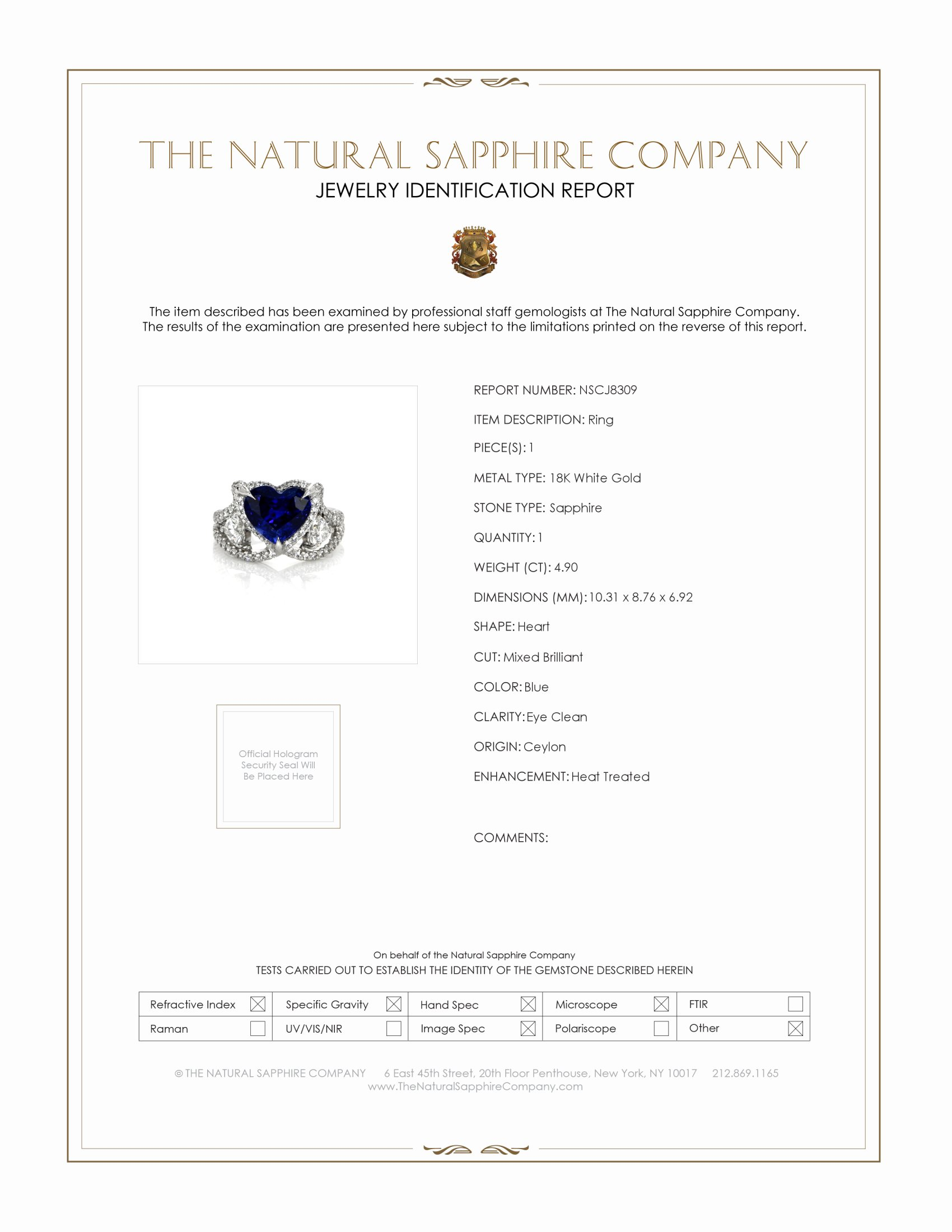 4.90ct Blue Sapphire Ring Certification