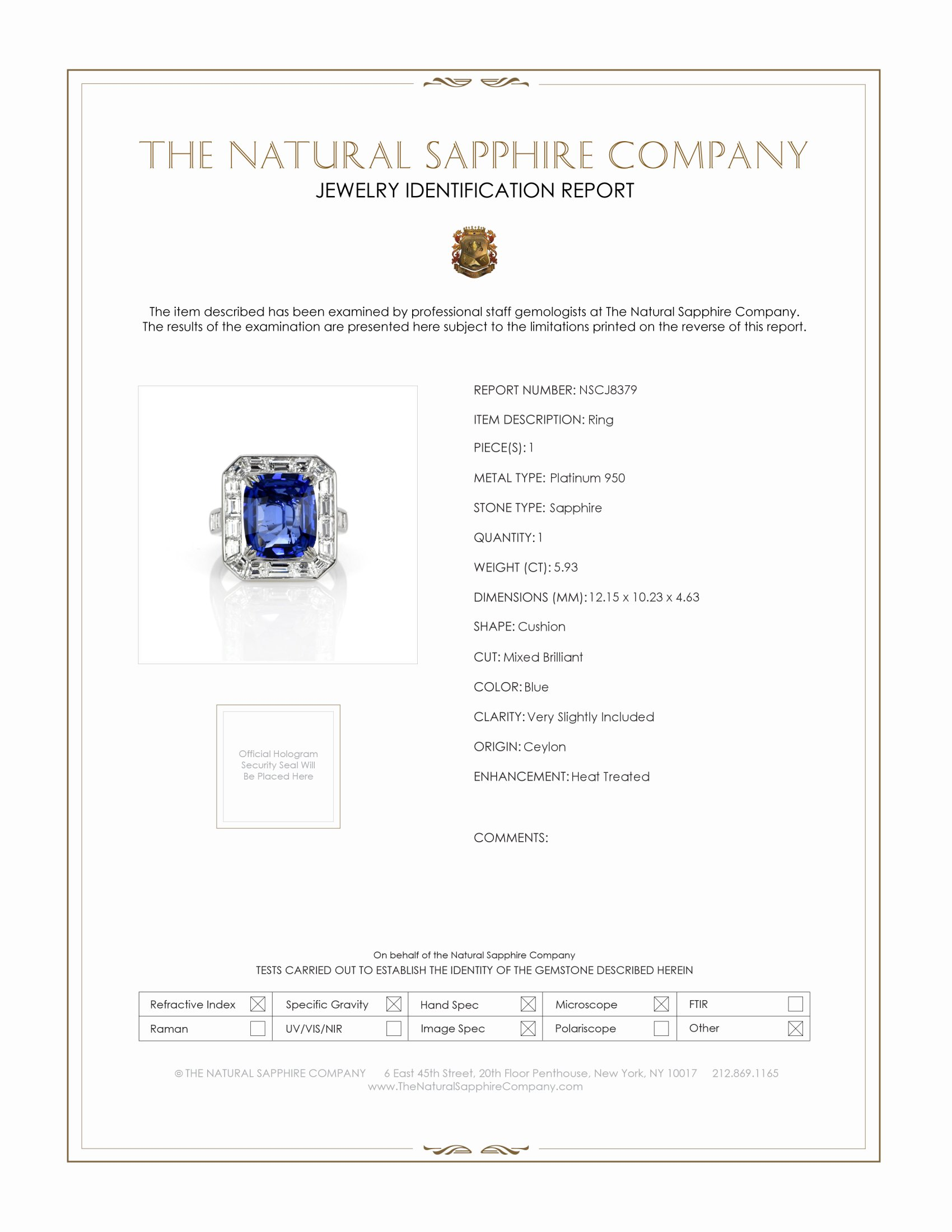 5.93ct Blue Sapphire Ring Certification