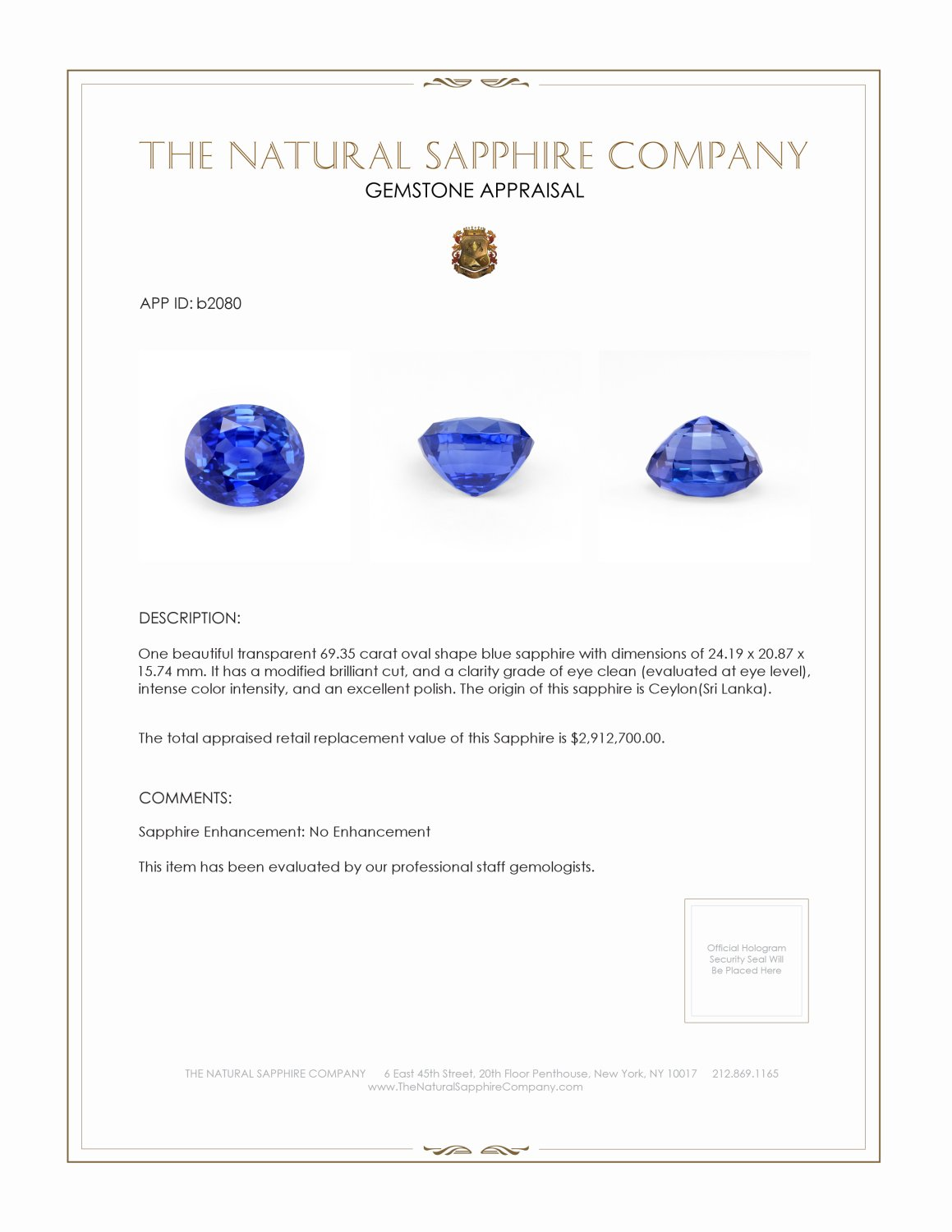 Natural Untreated Blue Sapphire B2080 Certification 4