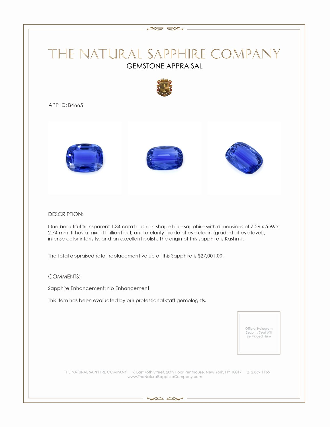 Natural Untreated Blue Sapphire B4665 Certification 4