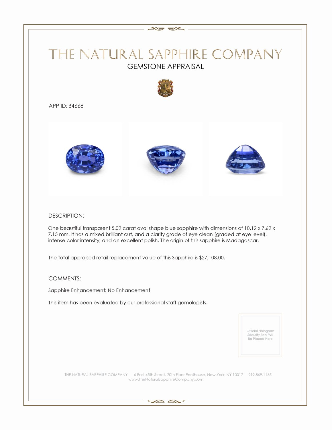 Natural Untreated Blue Sapphire B4668 Certification 4