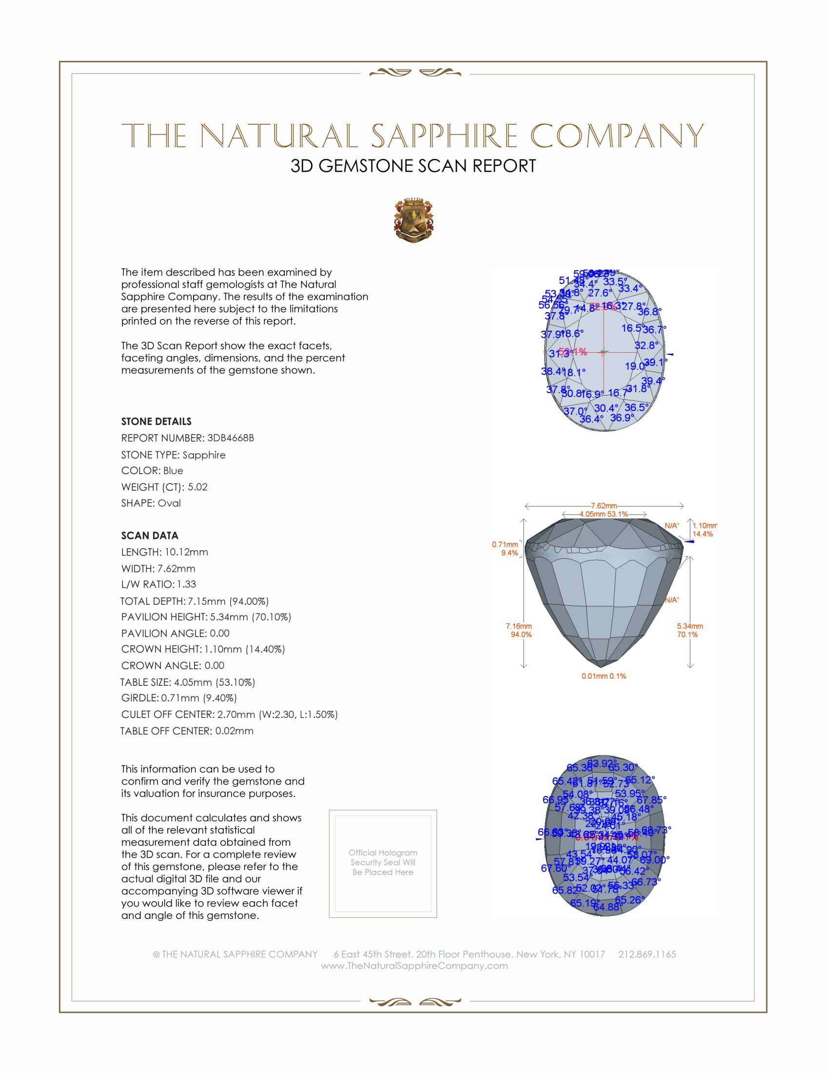 Natural Untreated Blue Sapphire B4668 Certification 2