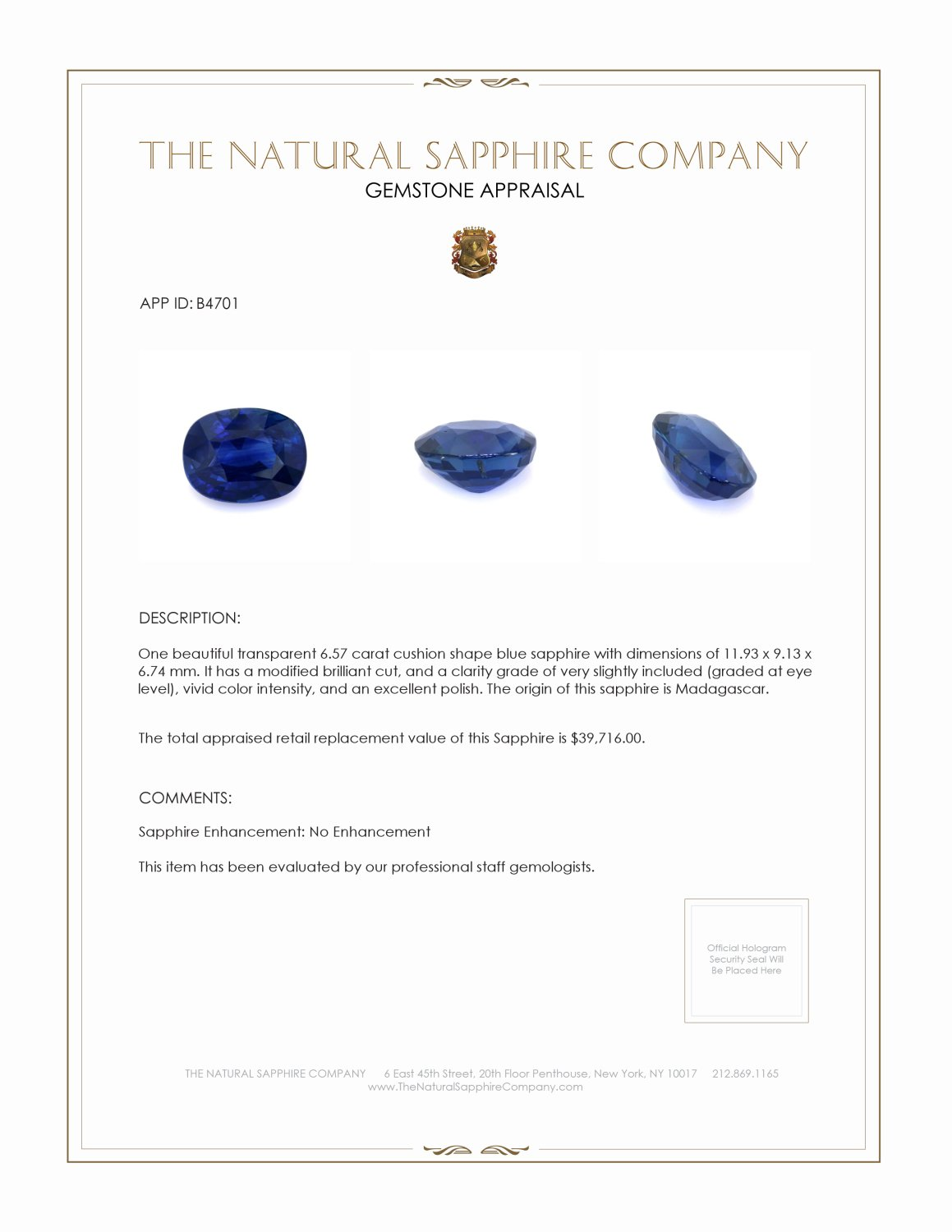 Natural Untreated Blue Sapphire B4701 Certification 4