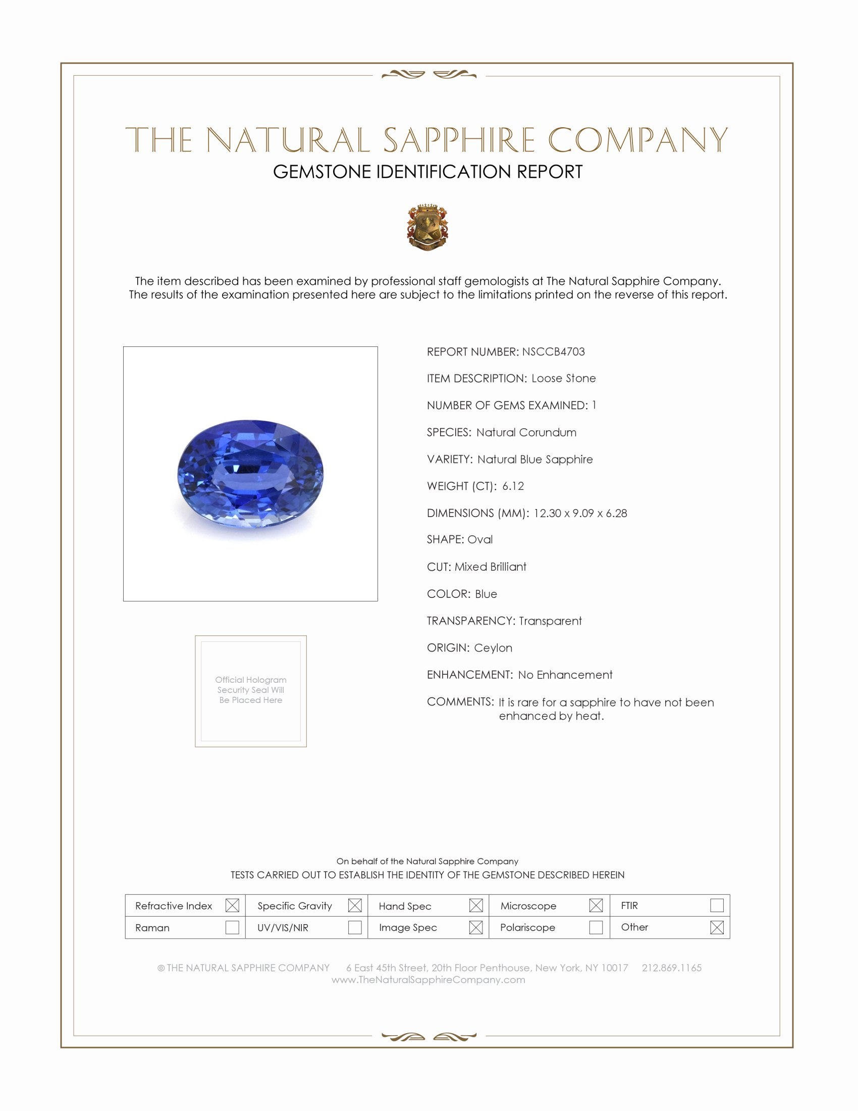 Natural Untreated Blue Sapphire B4703 Certification