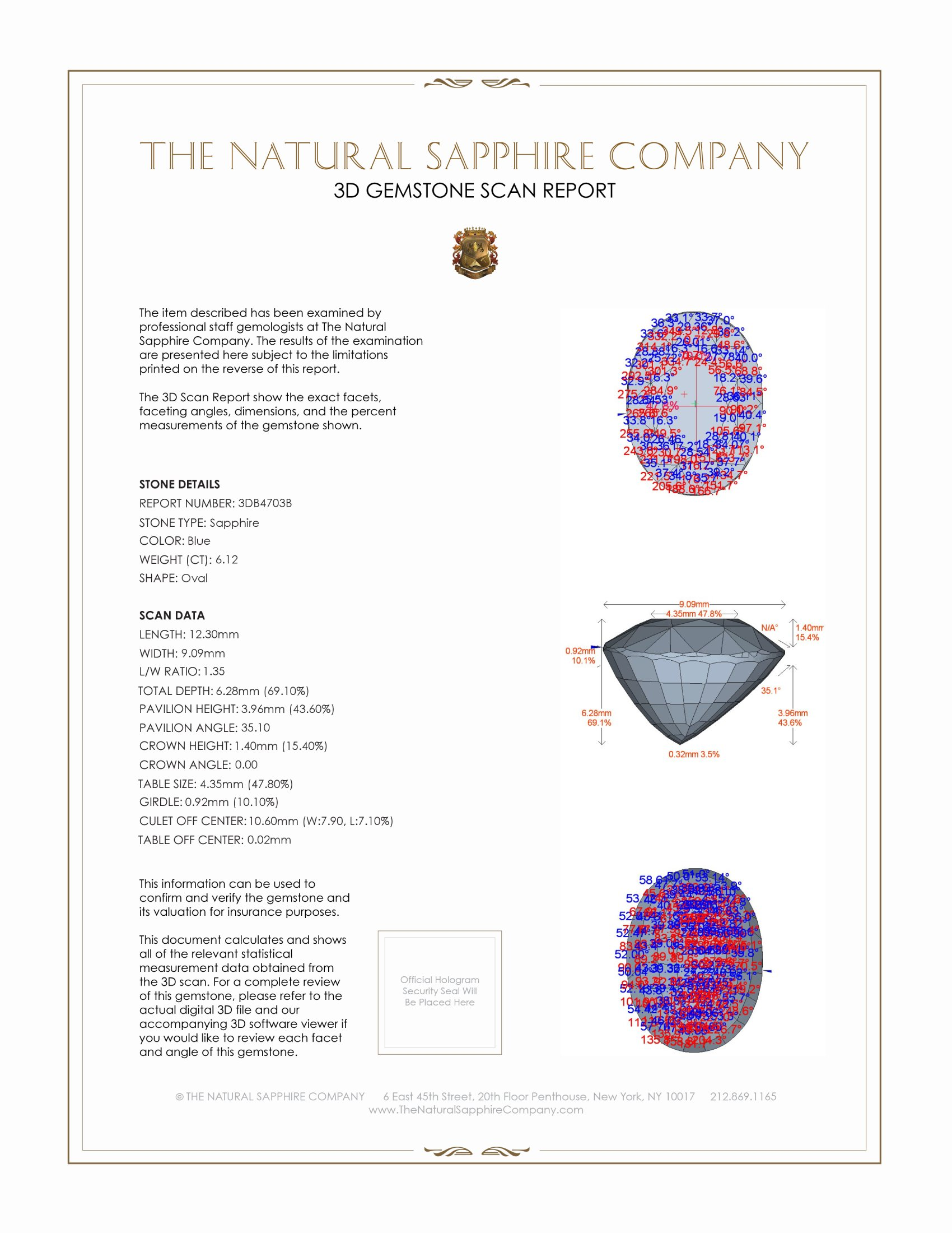 Natural Untreated Blue Sapphire B4703 Certification 2