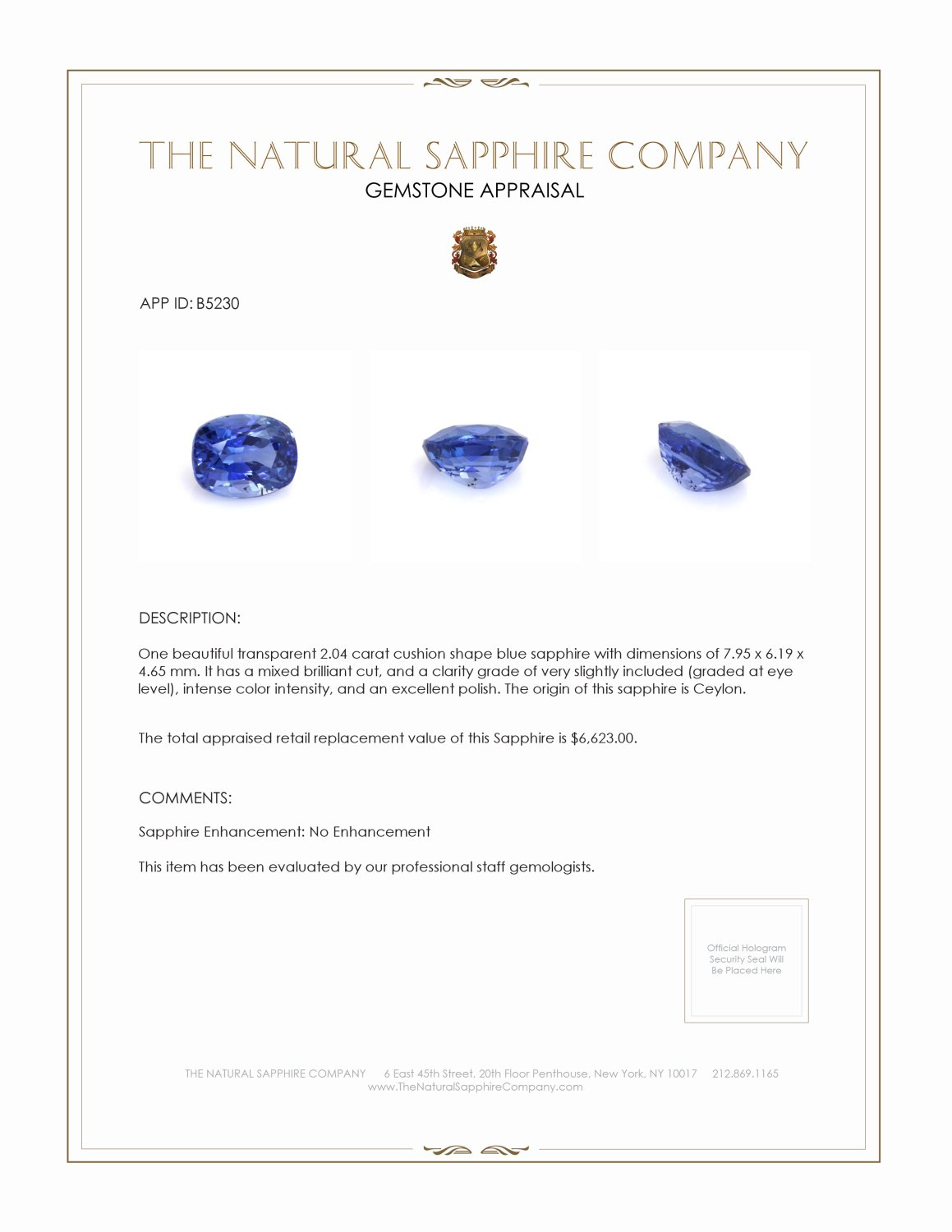 Natural Untreated Blue Sapphire B5230 Certification 3