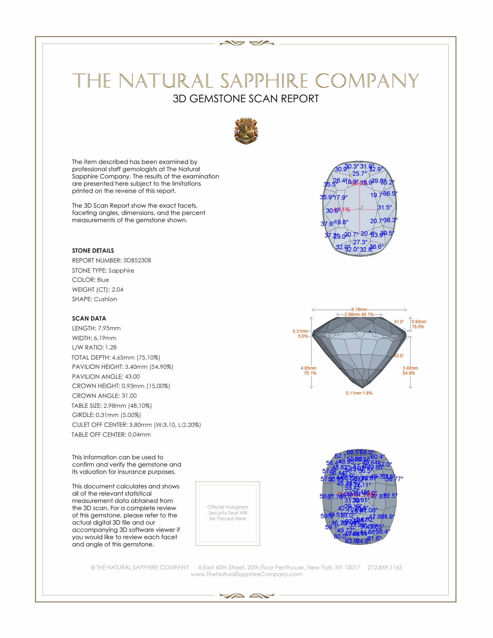 Natural Untreated Blue Sapphire B5230 Certification 2