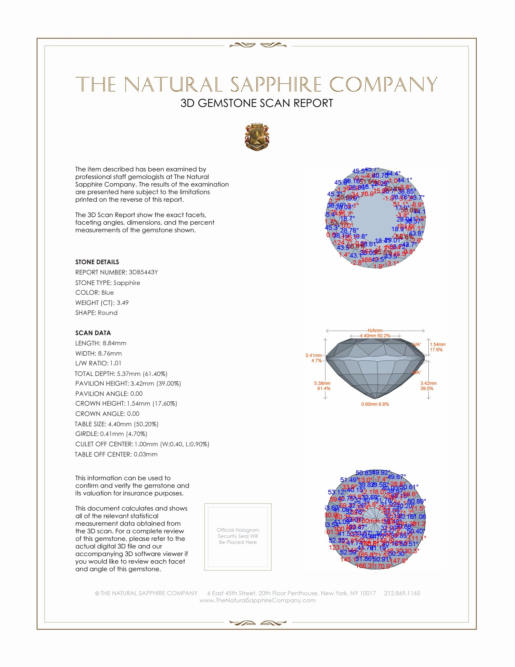 Natural Untreated Blue Sapphire B5443 Certification 2