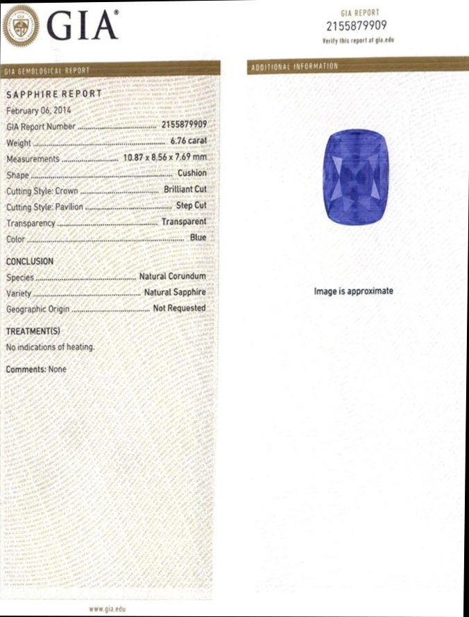 Natural Untreated 6.75 ct Cushion Blue Sapphire B5543 Certification 3