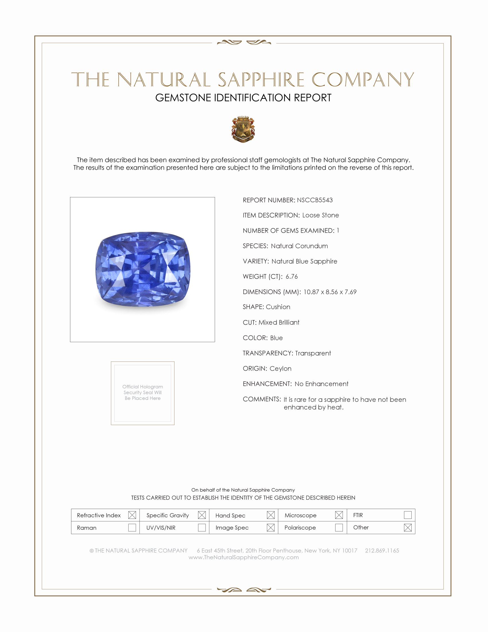 Natural Untreated 6.75 ct Cushion Blue Sapphire B5543 Certification