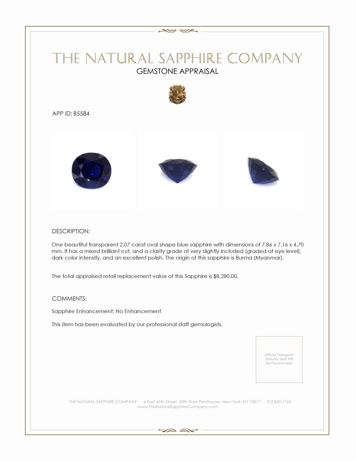 Natural Untreated Blue Sapphire B5584 Certification 4