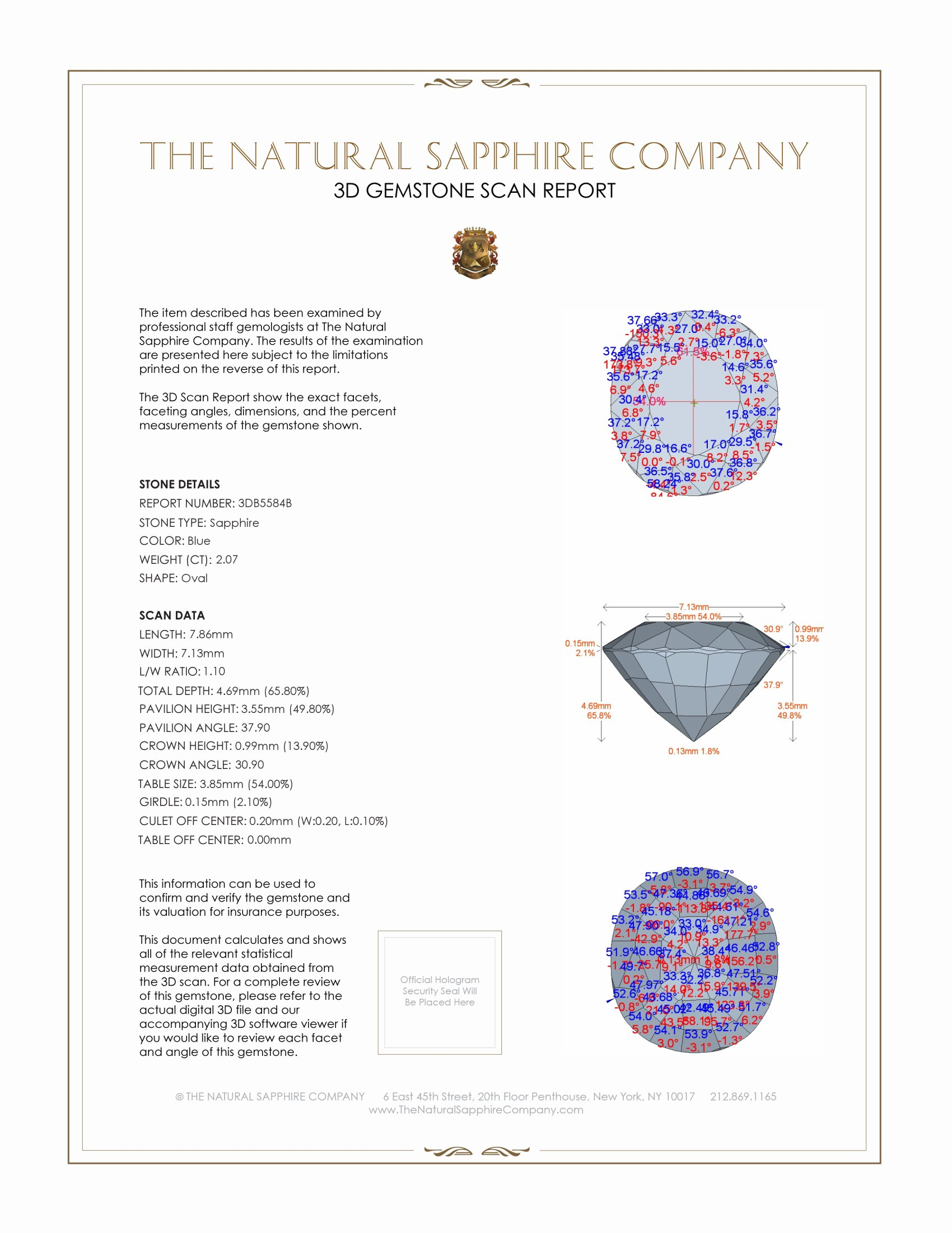 Natural Untreated Blue Sapphire B5584 Certification 2