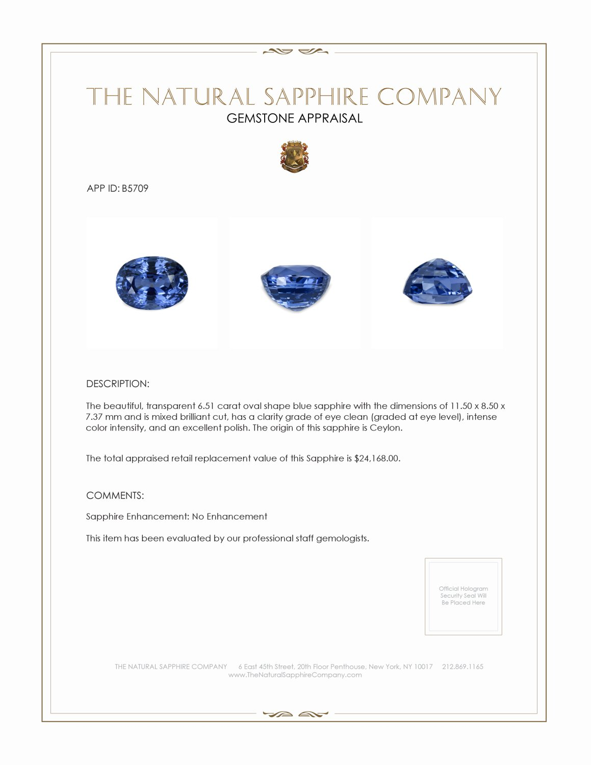Natural Untreated Blue Sapphire B5709 Certification 3